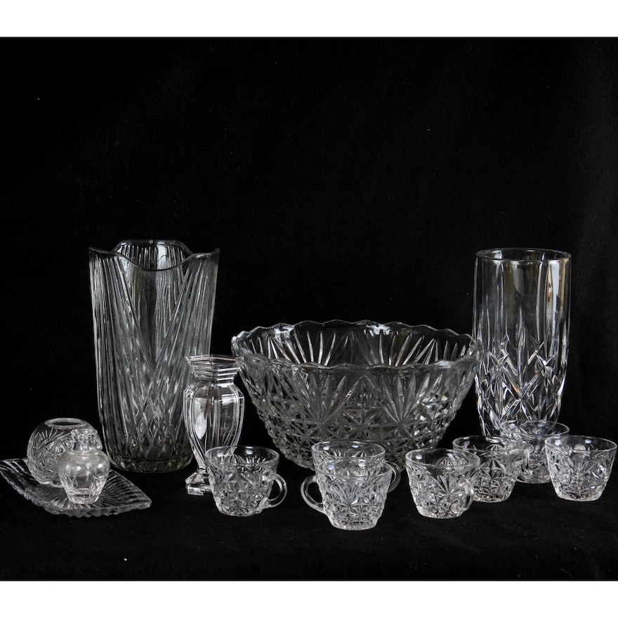 Vintage Cut Glass Vases And Punch Bowl Set Ebth