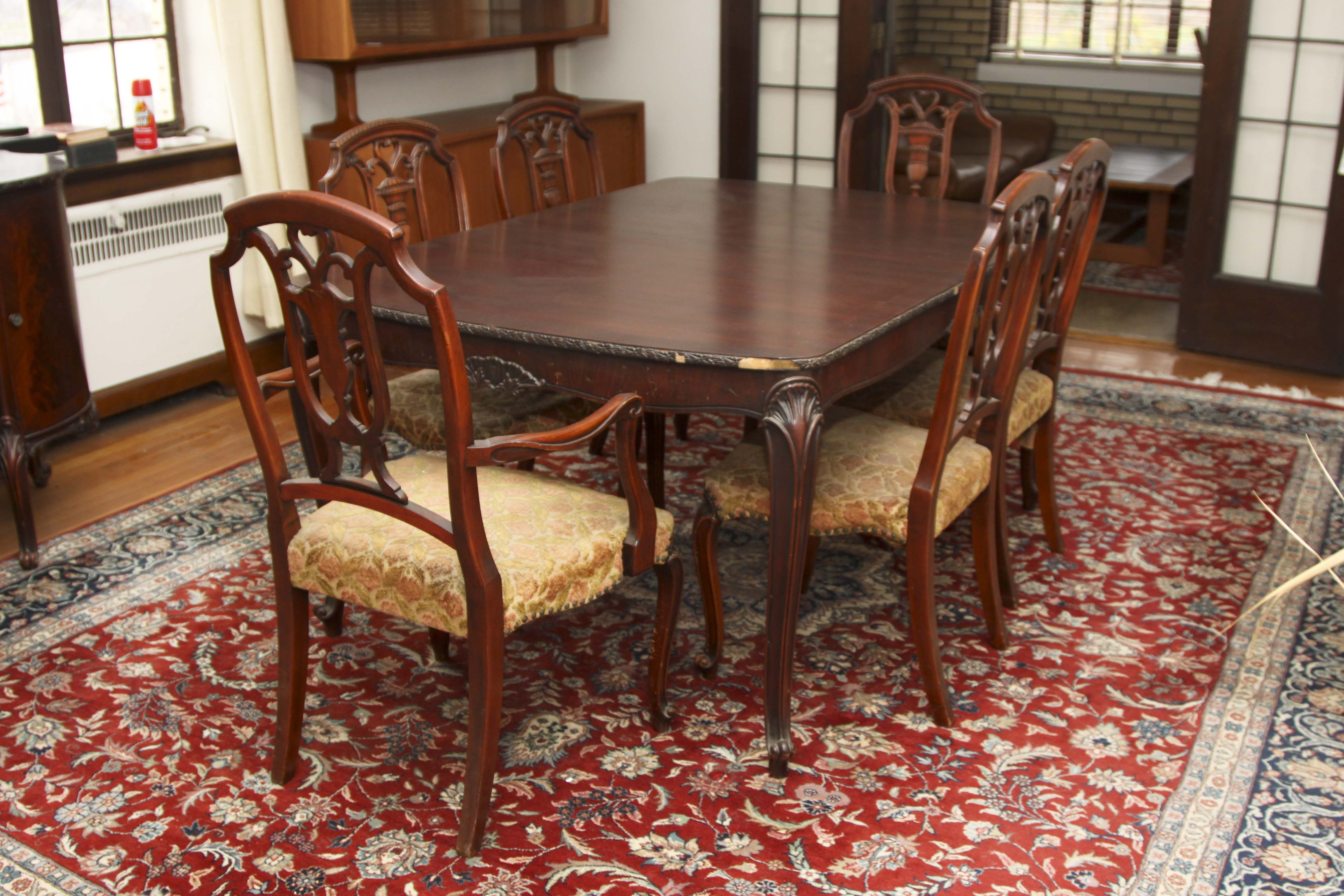 French Provincial Mahogany Dining Table and Chairs