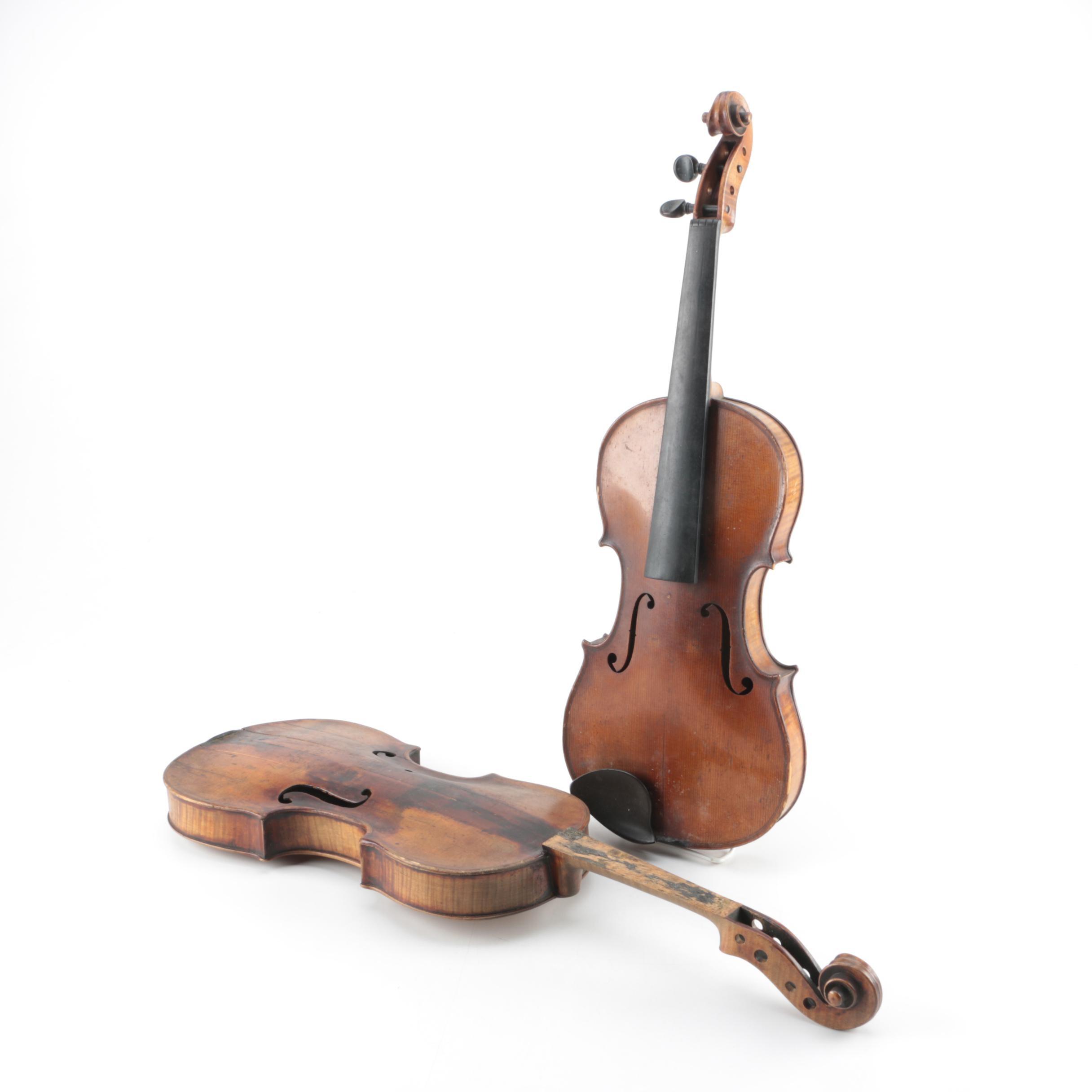 Vintage Violin Bodies Including Stradivarius Reproduction