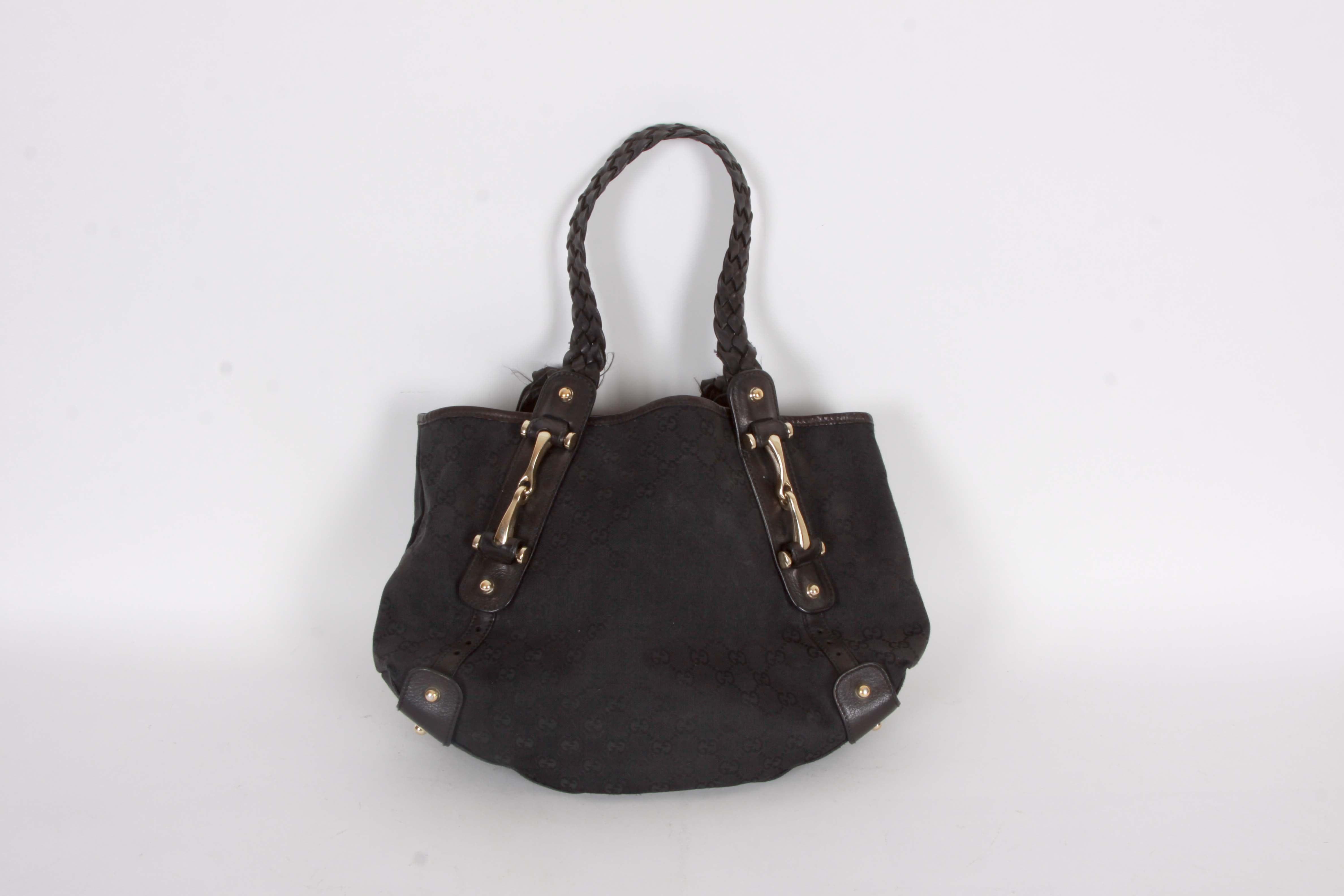 Gucci Monogram Canvas and Leather Handbag