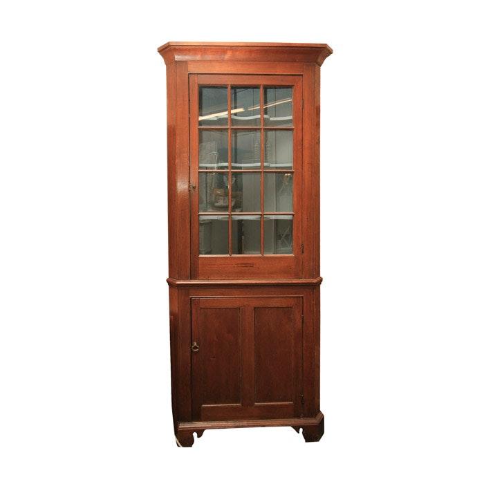 Circa 1820 Early Walnut Corner Cabinet