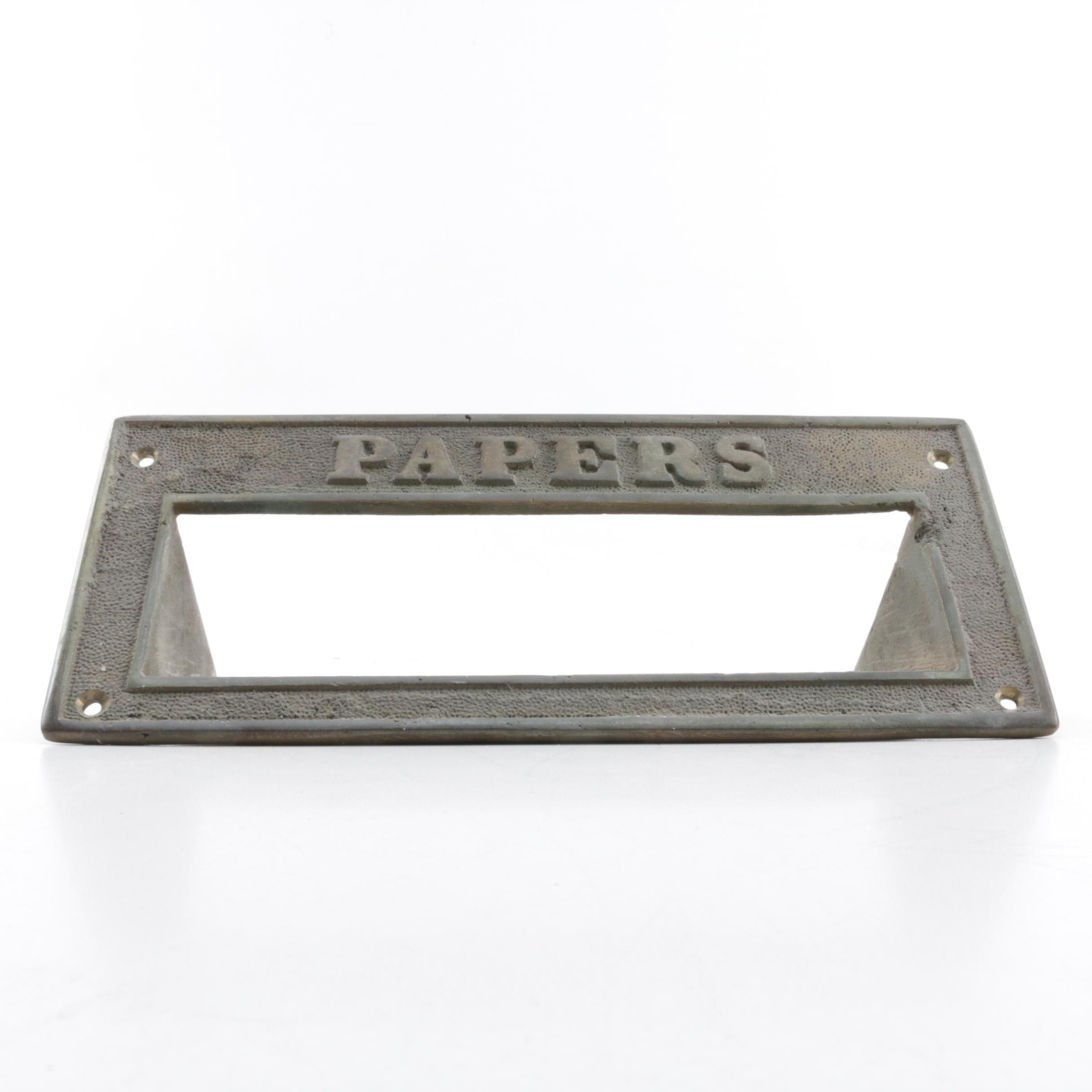 """Metal """"Papers"""" Door Slot"""