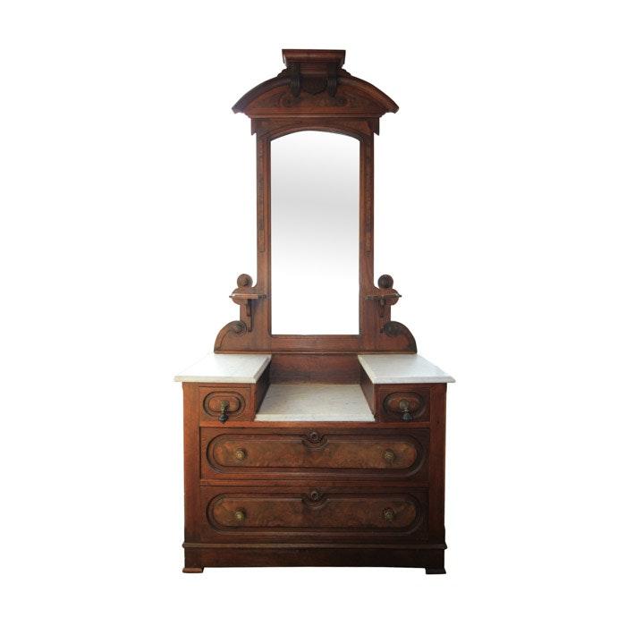 Antique Victorian Eastlake Walnut Dropwell Dresser