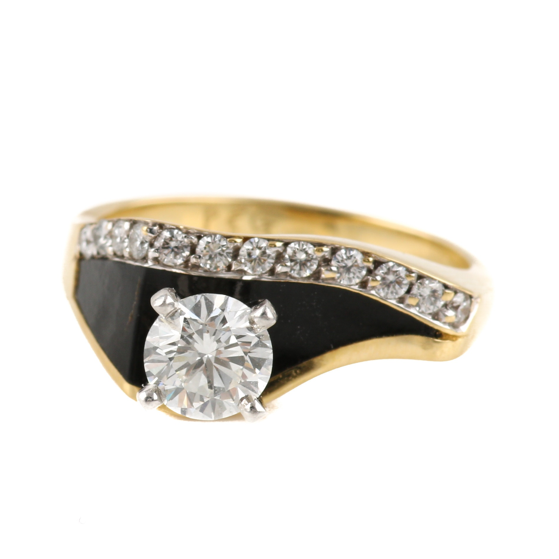 18K Yellow Gold Diamond and Black Coral Ring