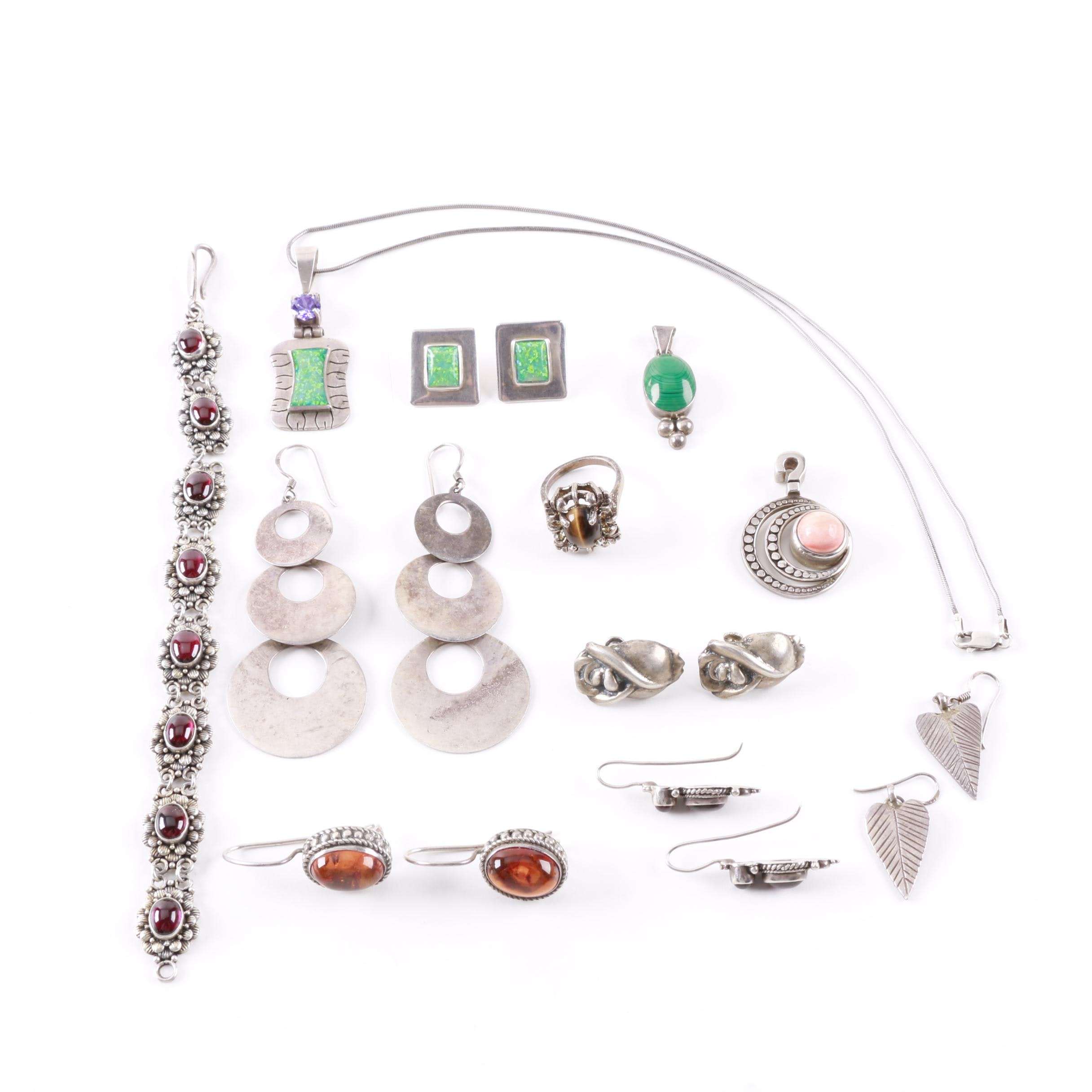 Selection of Sterling Silver Jewelry Including Gemstones