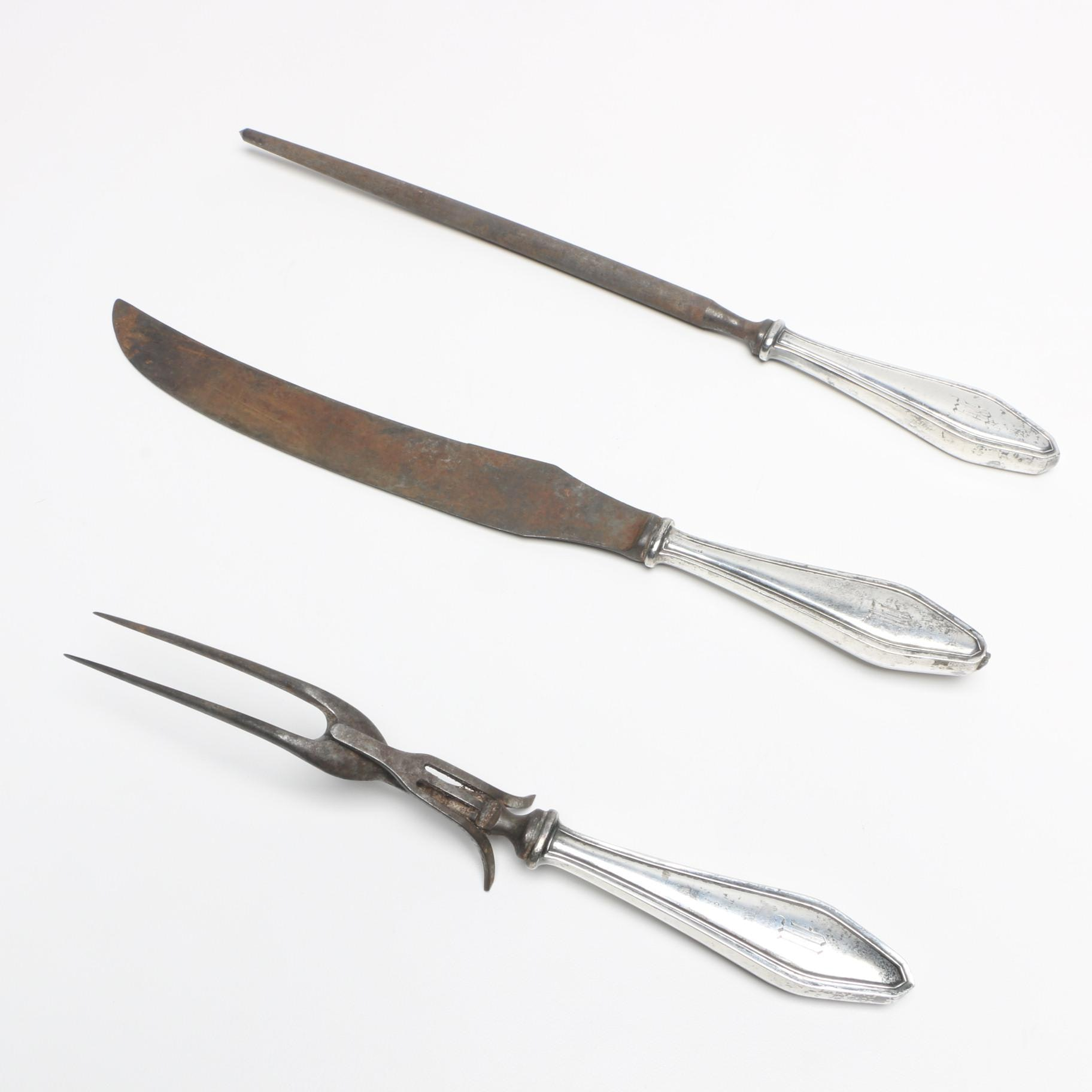 Sterling Silver Hollow Handle Carving Set