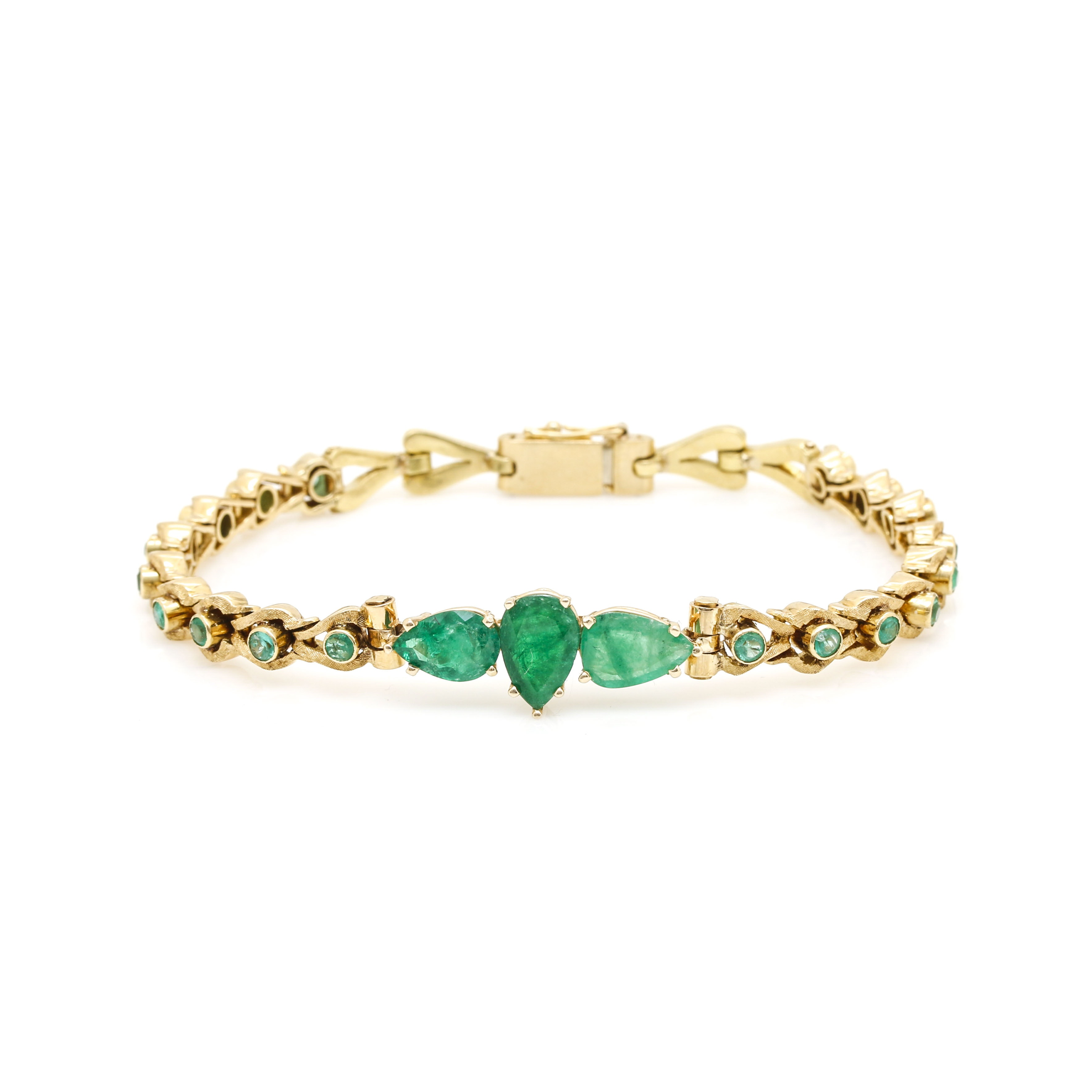 14K and 18K Yellow Gold Emerald Bracelet