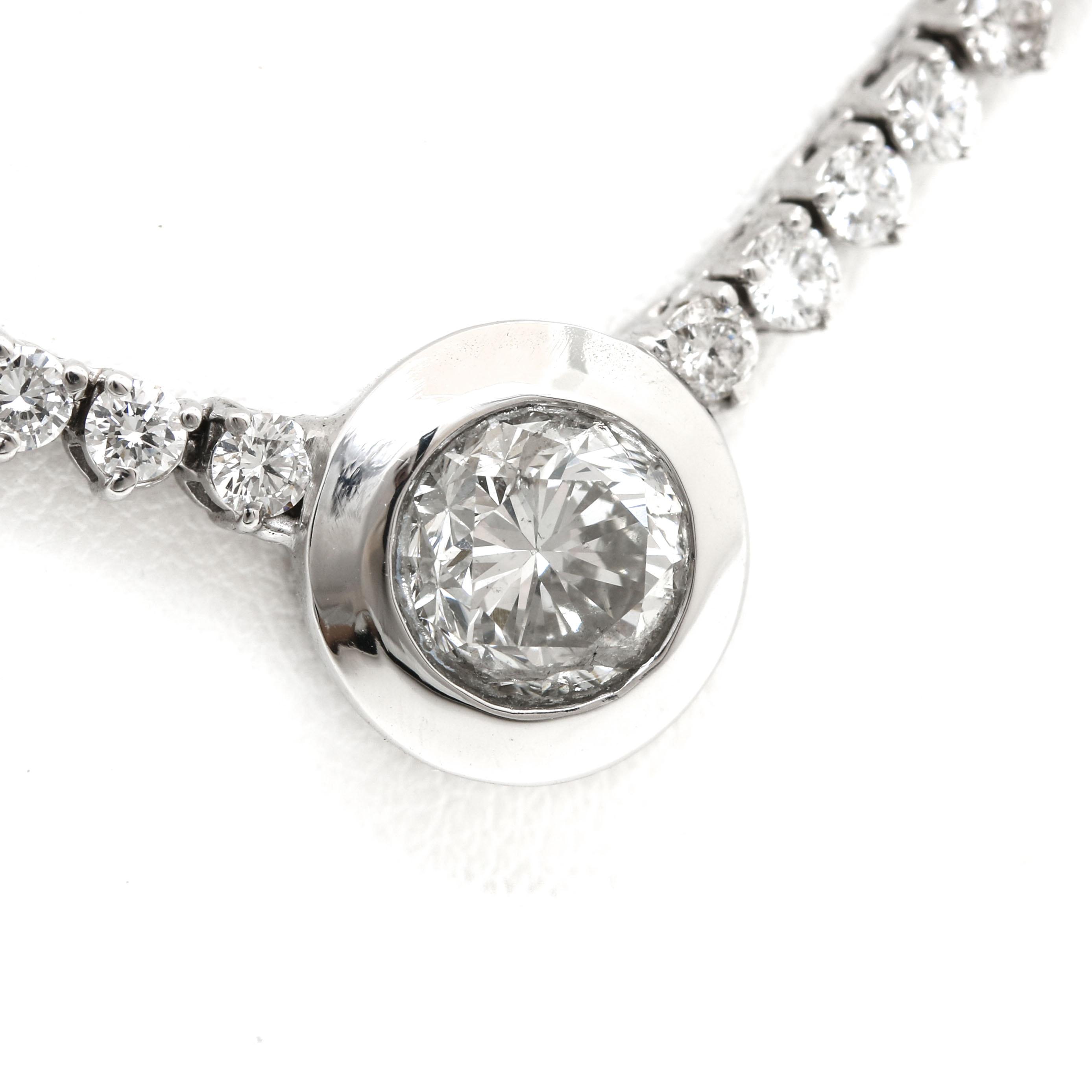 14K White Gold 7.98 CTW Diamond Necklace
