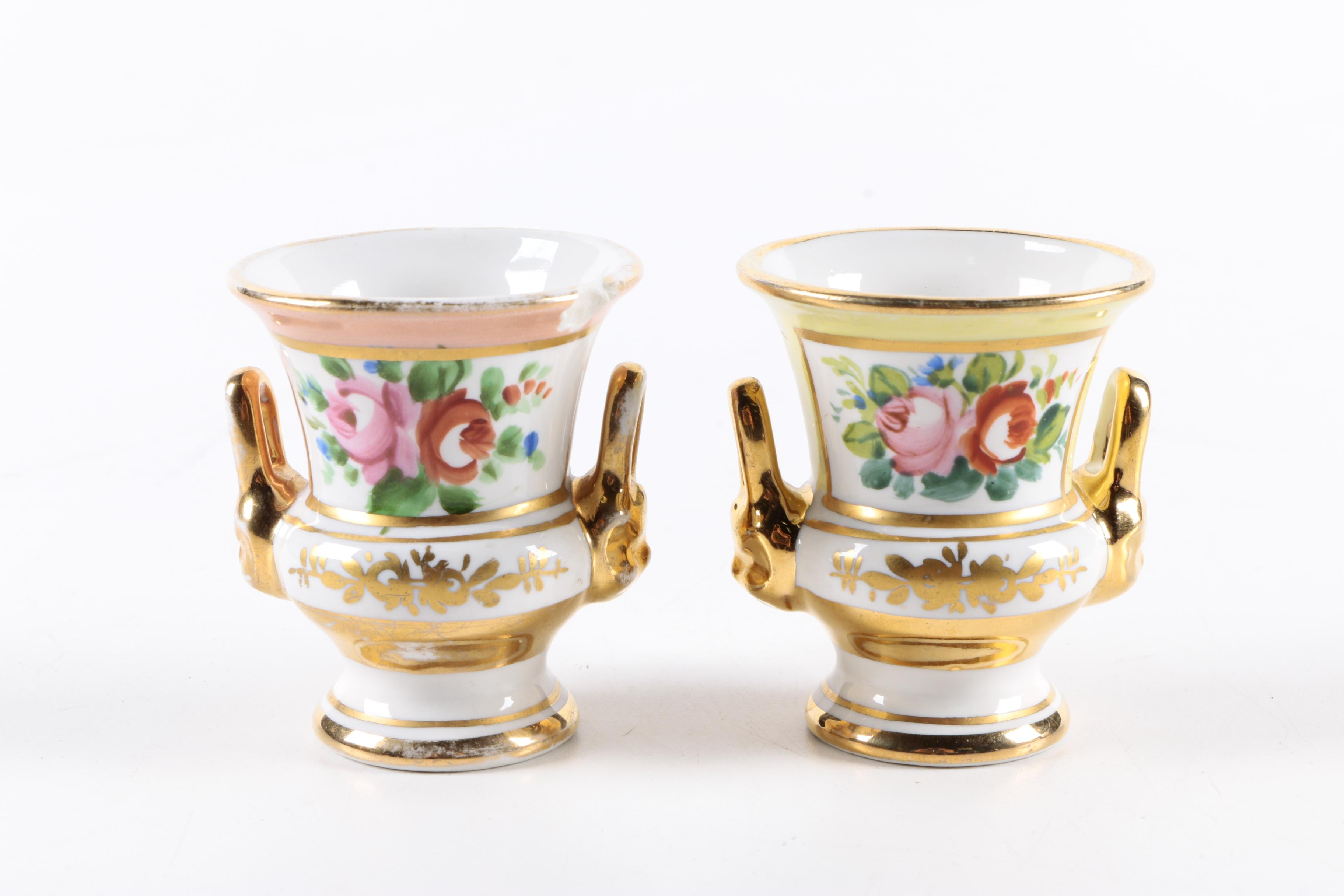 Pair of Hand Painted Amoges Porcelain Toothpick Holders