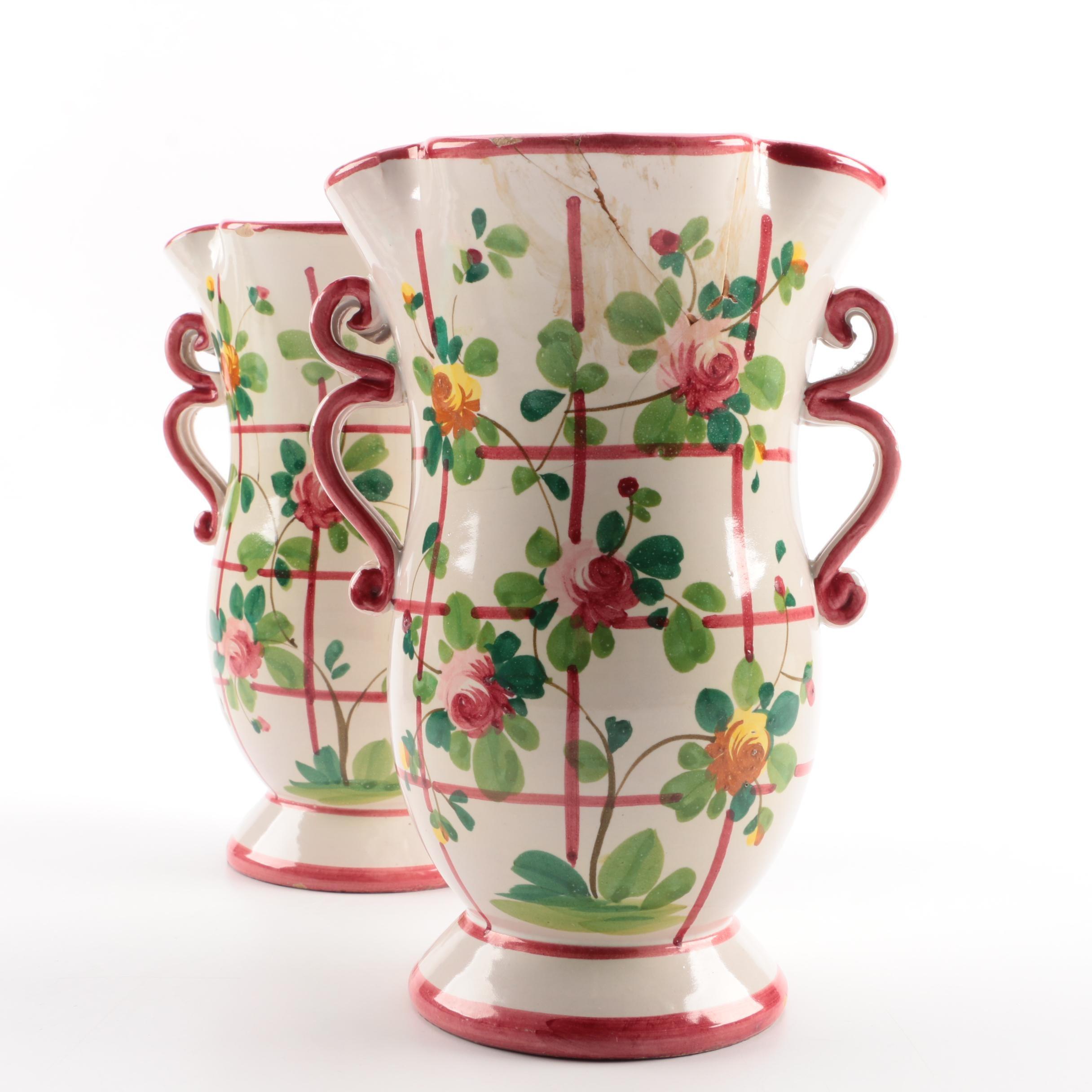 Pair of Italian Pottery Vases