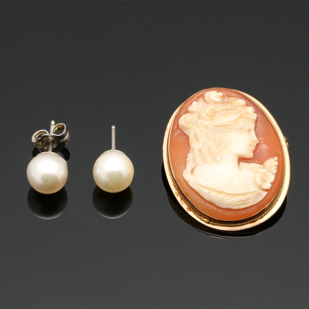 14K Yellow and White Gold Shell Cameo Brooch and Cultured Pearl Earrings