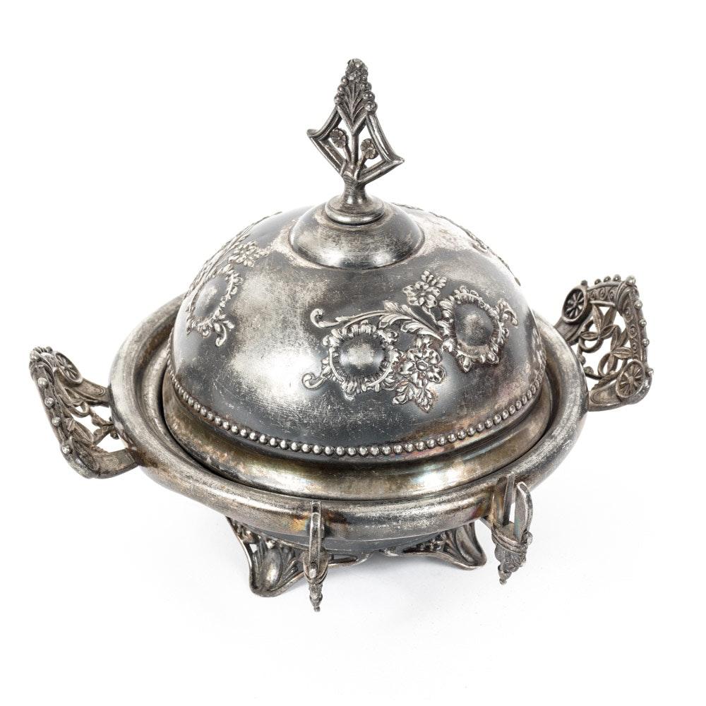 Circa 1880 Bristol Silver Plate Covered Dome Butter Dish