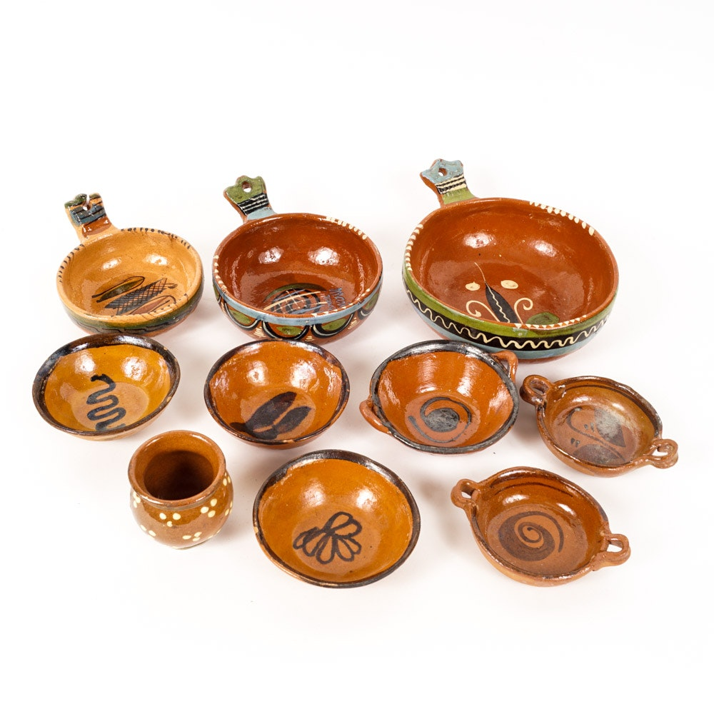 Art Pottery Tableware Including Set Signed by María Macia