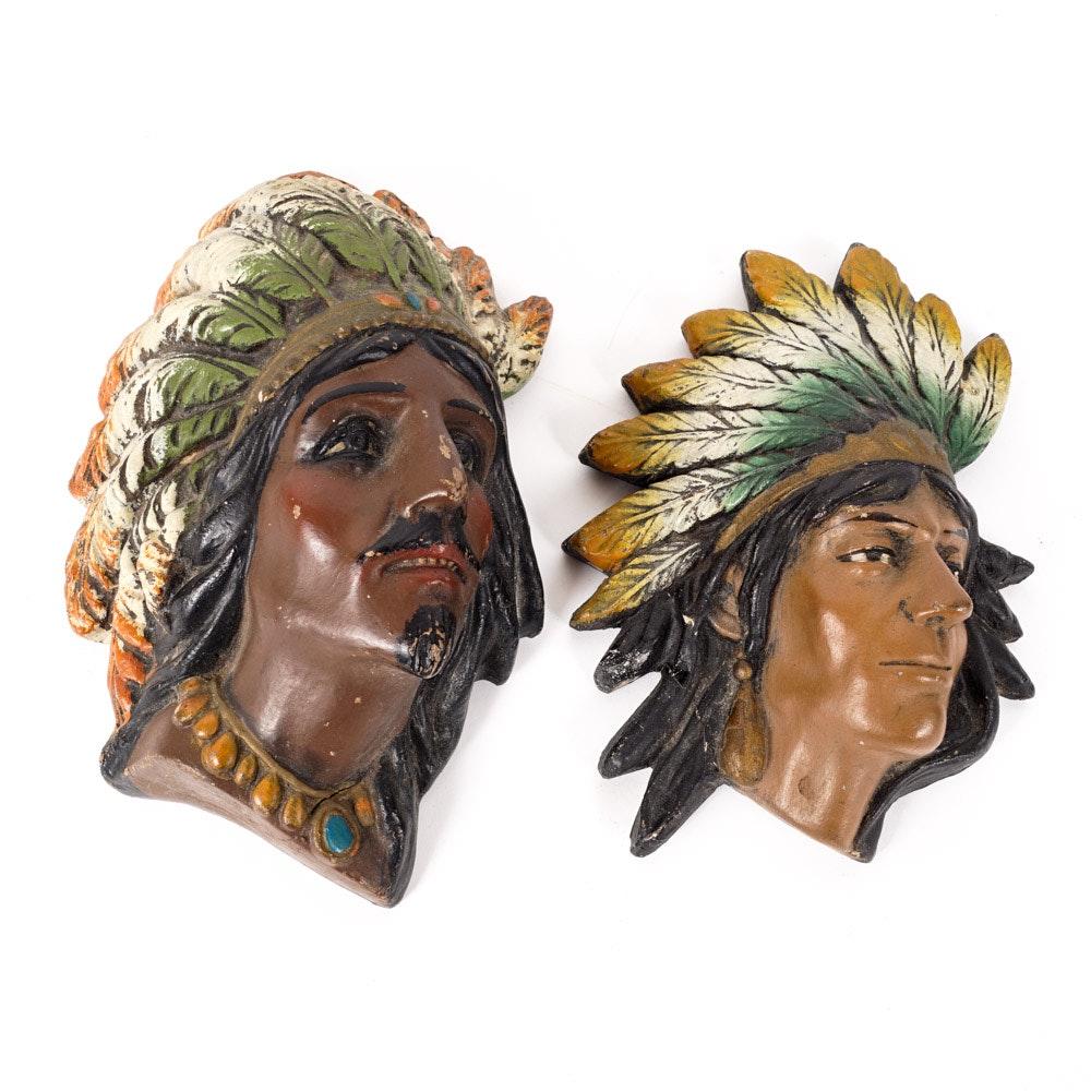 Native American Inspired Chalkware Wall Coin Banks