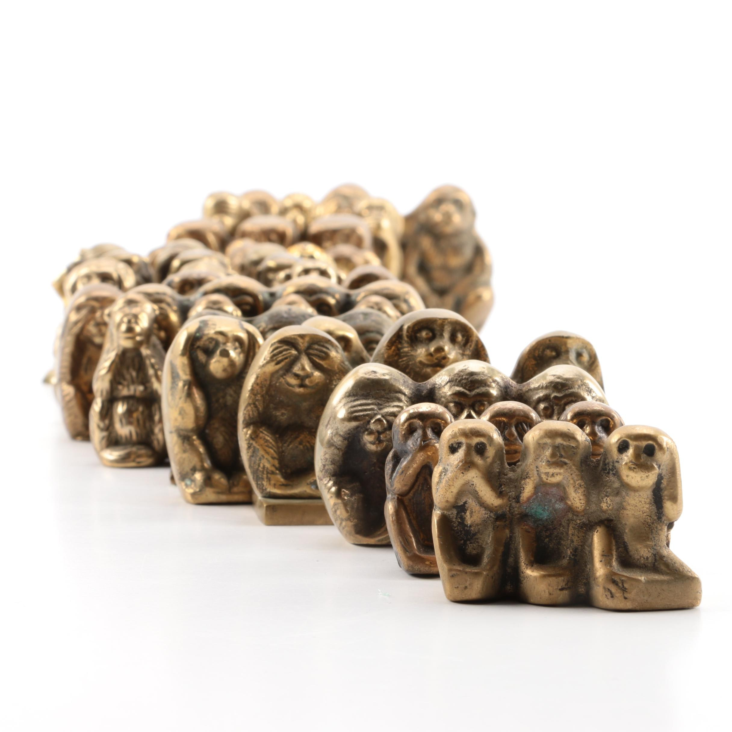 "Brass ""Three Wise Monkeys"" Figurines"