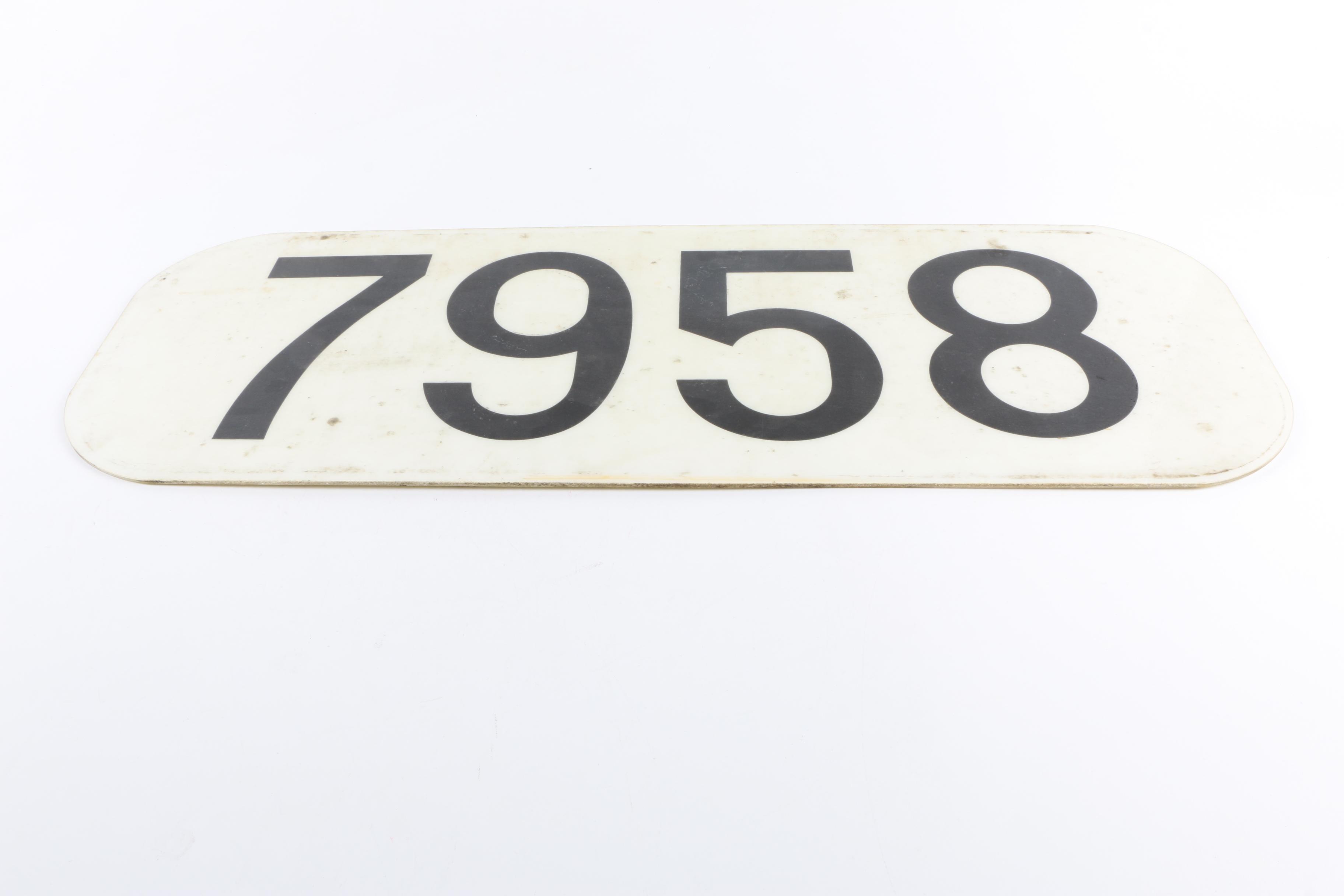 "Locomotive Number Plate ""7958"""