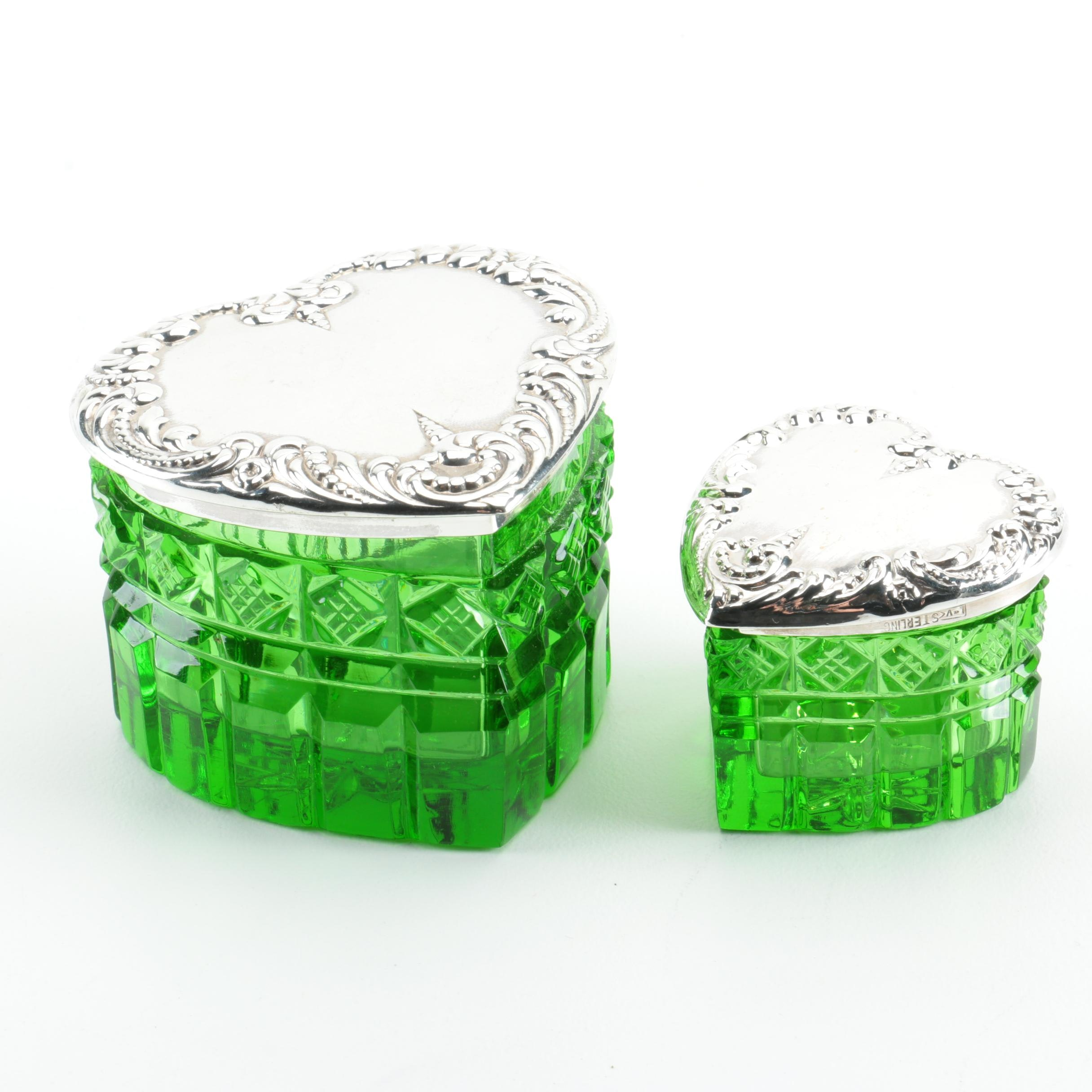 Heart-Shaped Sterling Silver and Emerald Green Crystal Vanity Jars