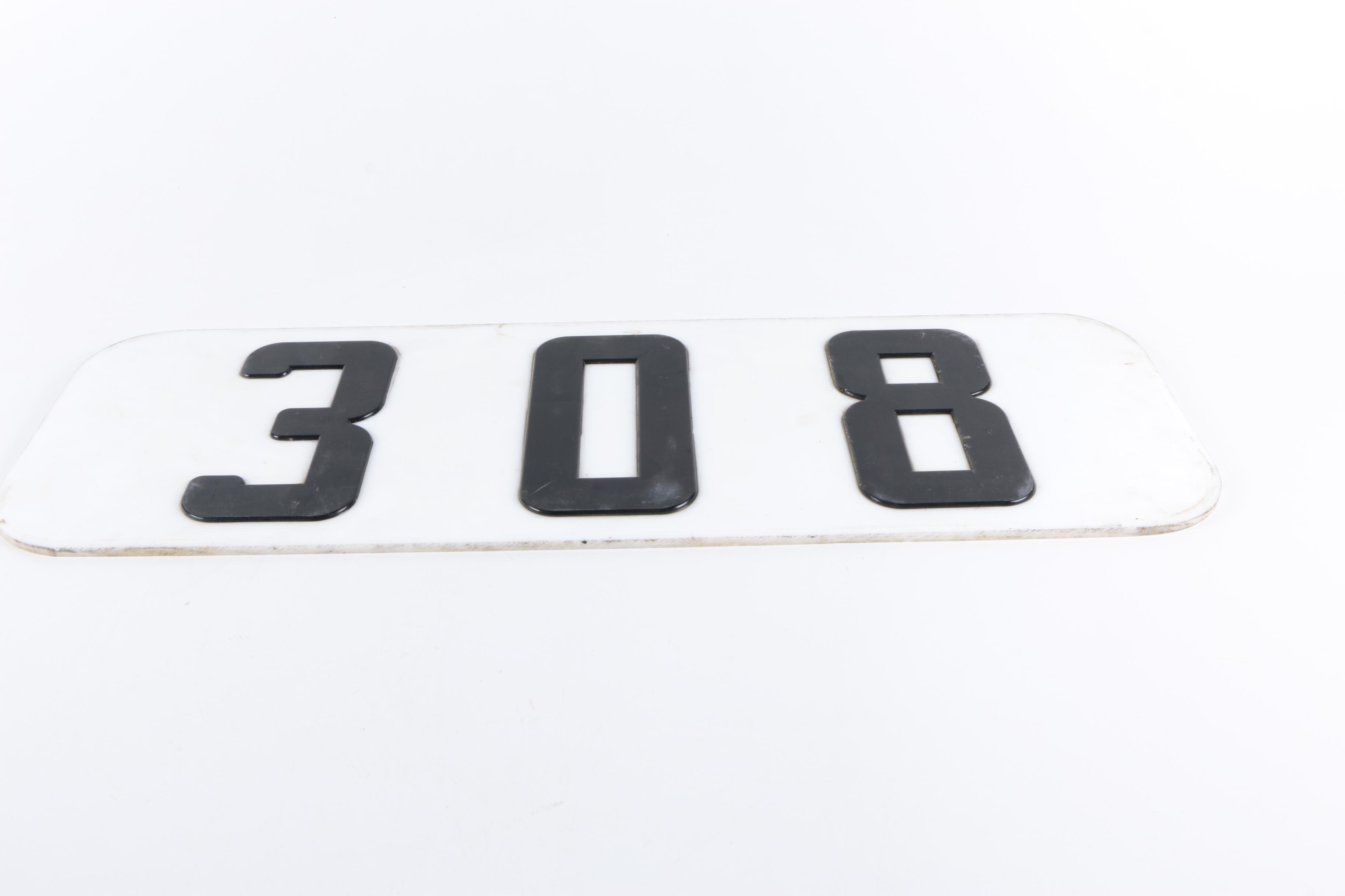 "Locomotive Number Plate ""308"""