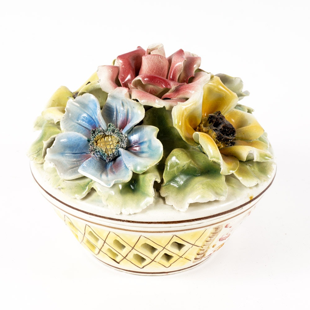 Italian Capodimonte Hand Painted Floral Bowl