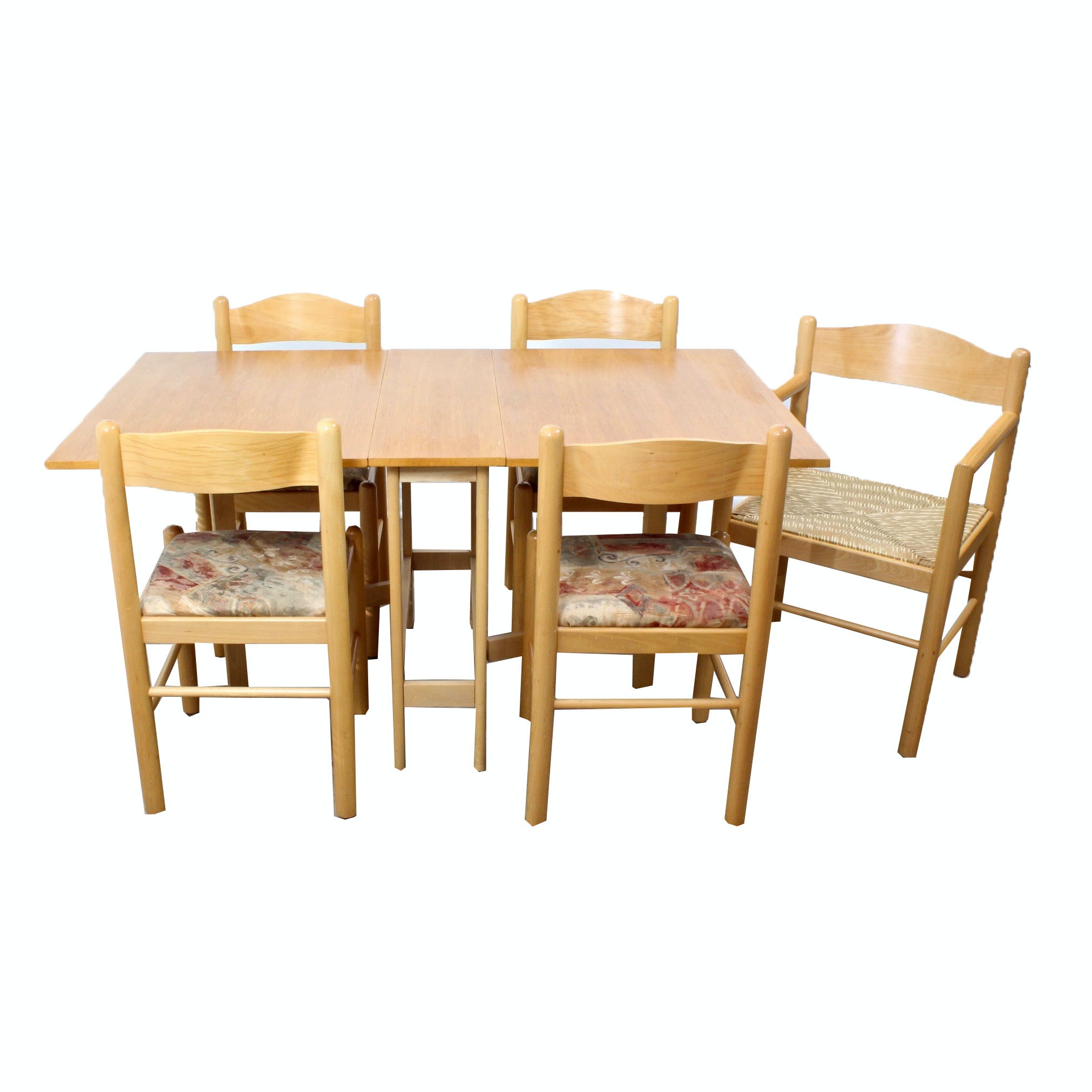 Vintage Oak and Maple Gateleg Table with Chairs