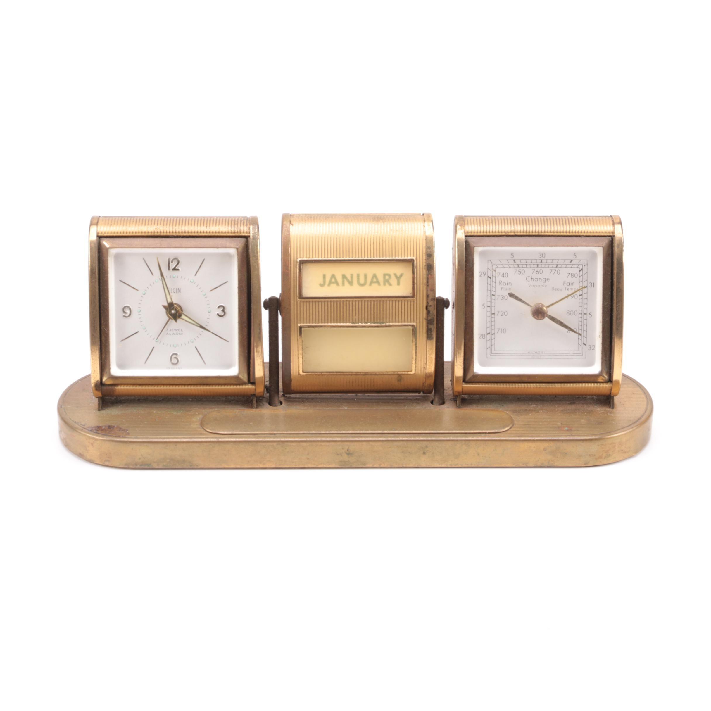 Vintage Elgin Desk Clock With Calendar and Barometer