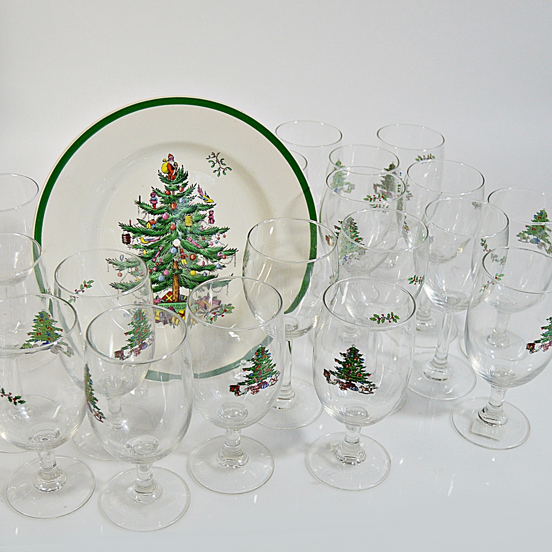 "Spode ""Christmas Tree"" Plate and Stemware"