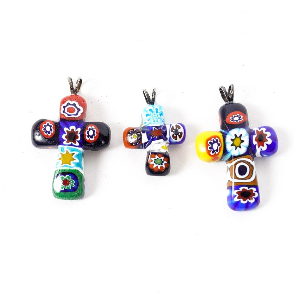 Three Murano Glass Crucifix Pendants