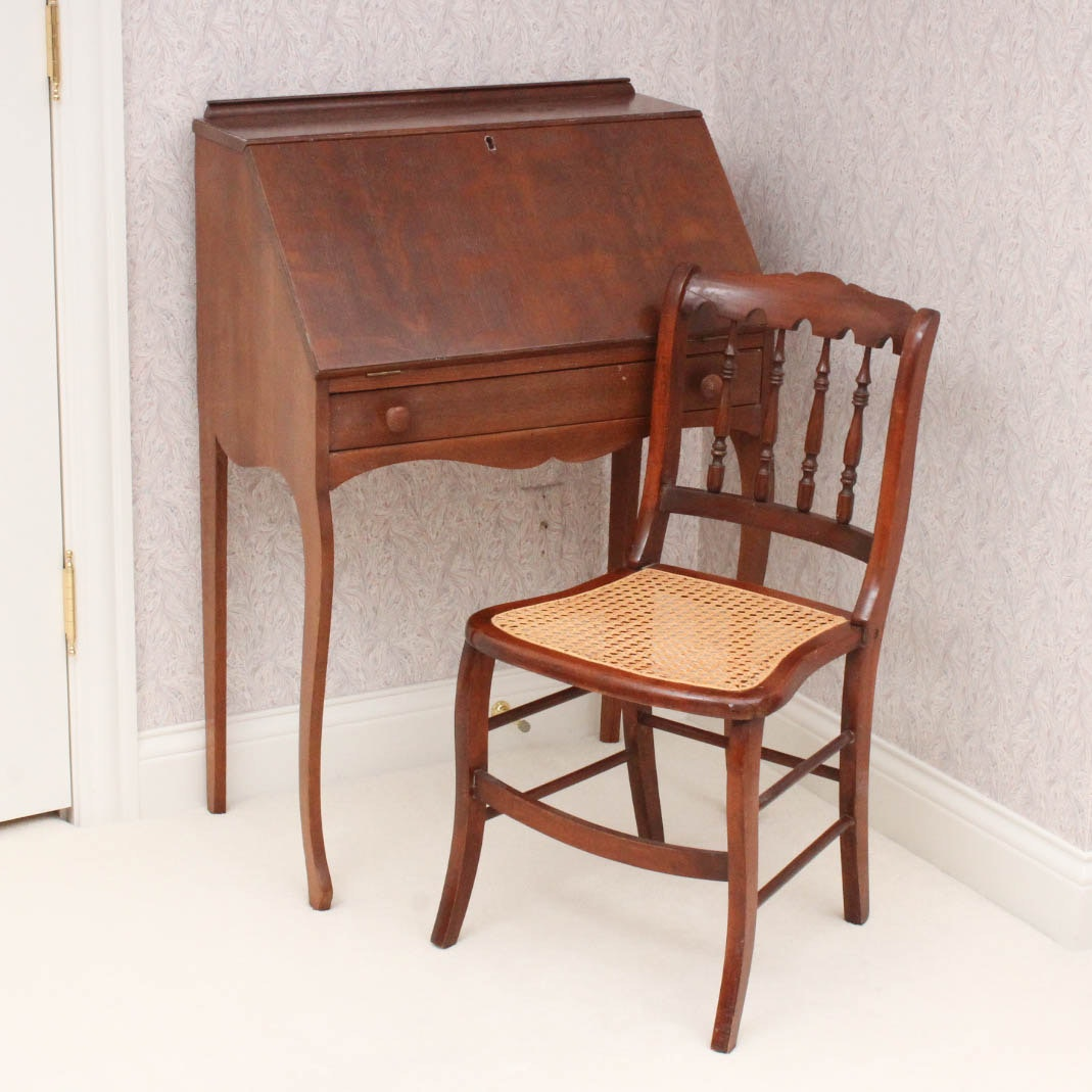 Vintage Solid Wood Secretary Desk with Chair