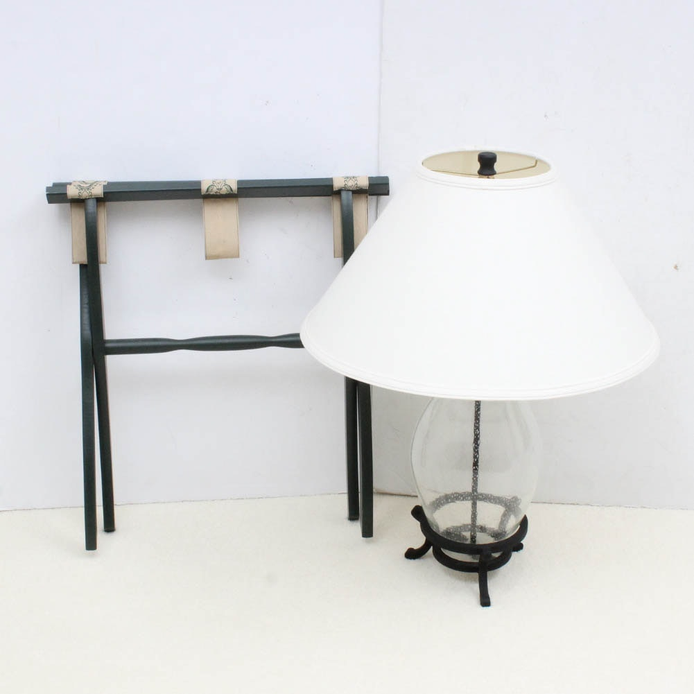 Hand-Blown Glass Lamp and Luggage Rack