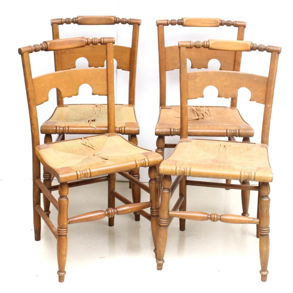 Set of Four Vintage Wood and Rush Chairs