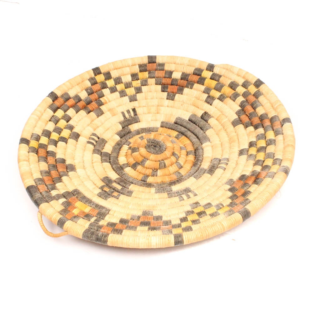 Vintage Native American Style Coiled Turtle Basket