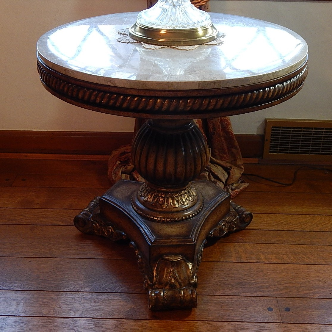 Transitional Marble Top Parlor Table