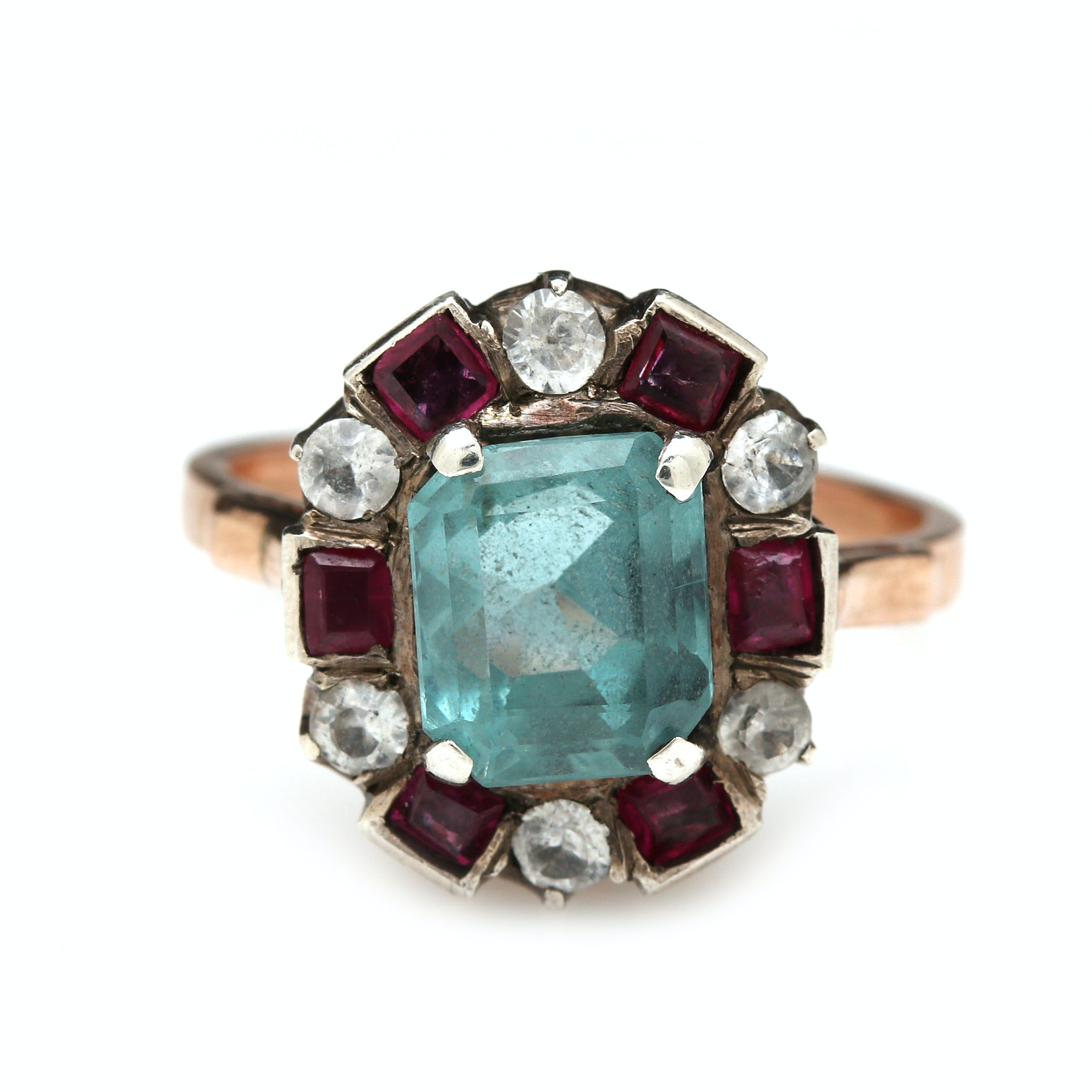 Vintage 10K Yellow Gold 2.16 CT Aquamarine, Sapphire and Ruby Ring
