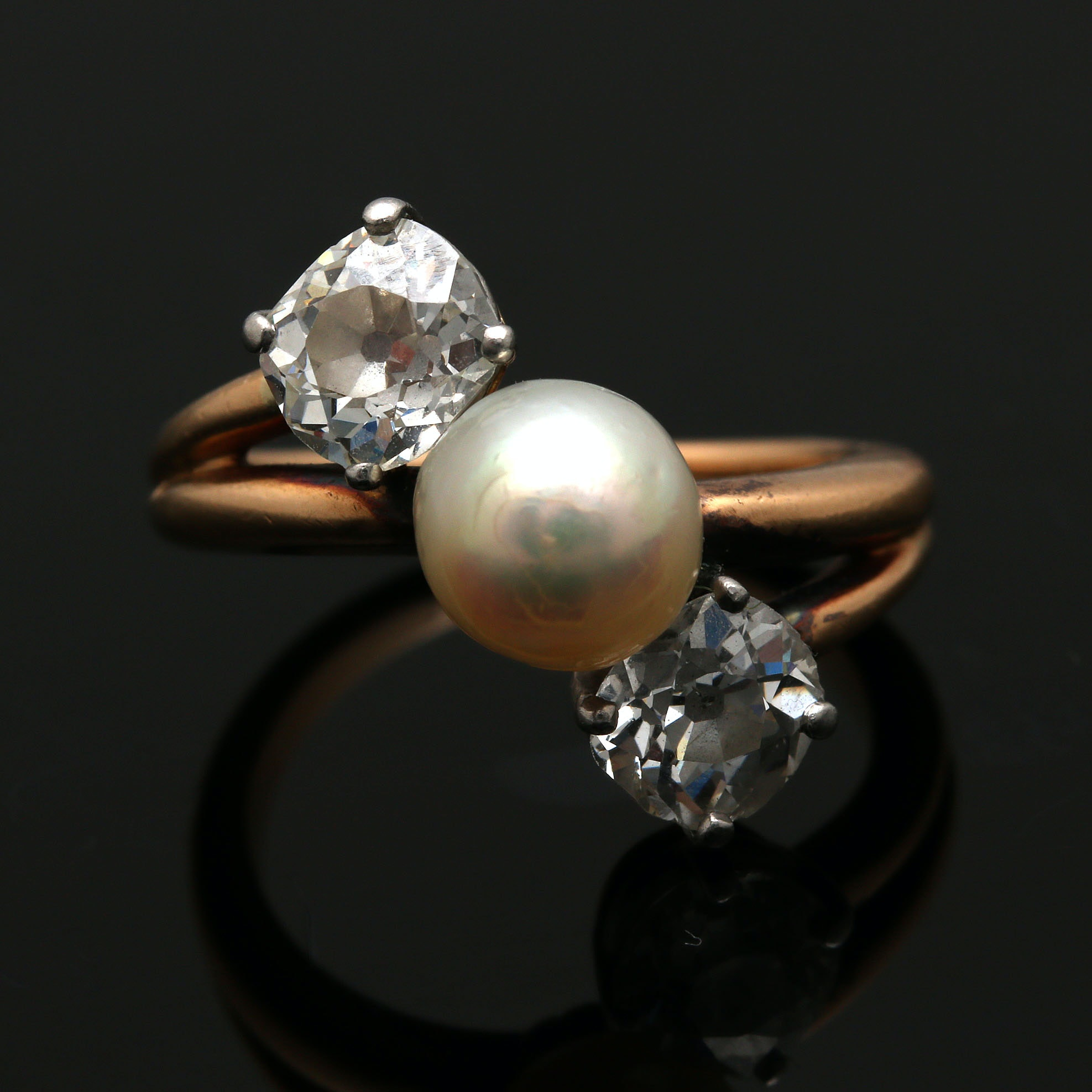 Vintage 18K Yellow Gold Cultured Pearl and 1.50 CTW Diamond Bypass Ring