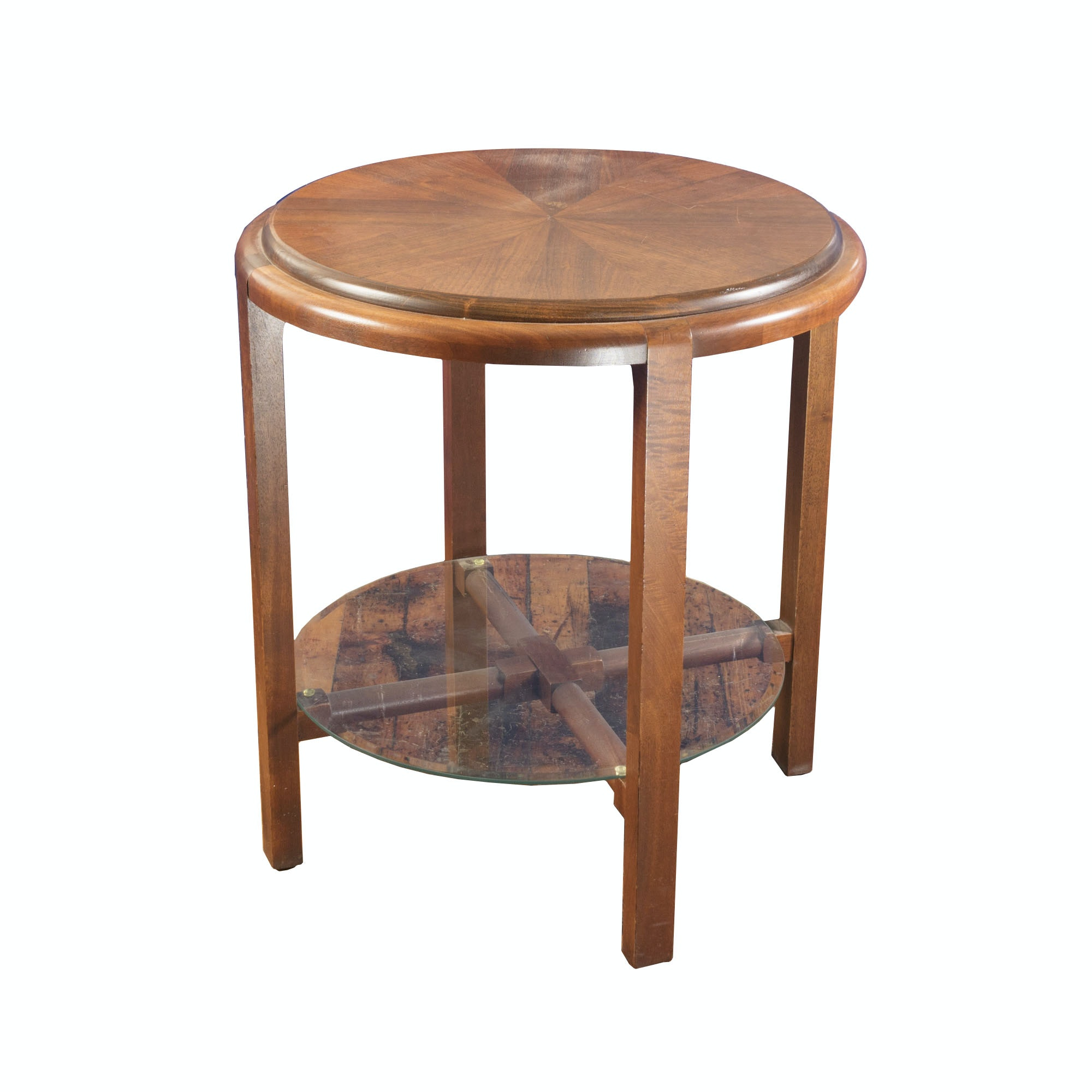 Walnut Parquet Round Table