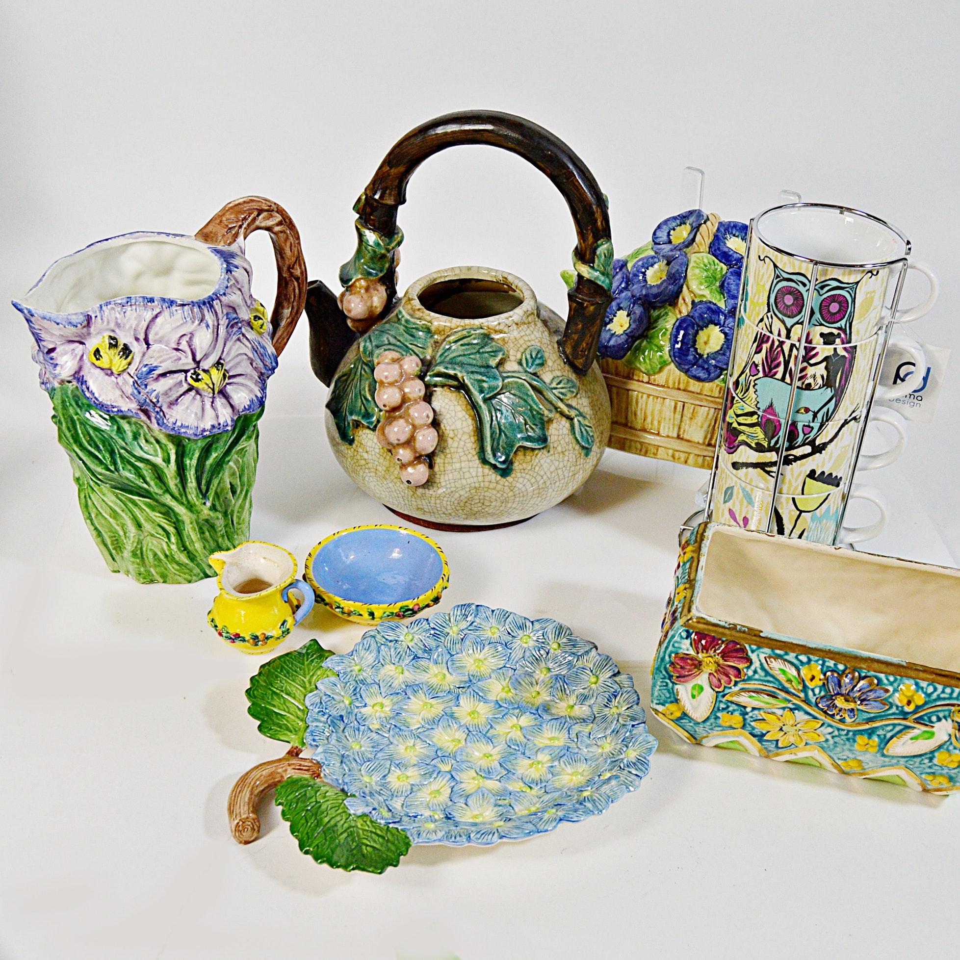 Majolica Style Tableware and Decor