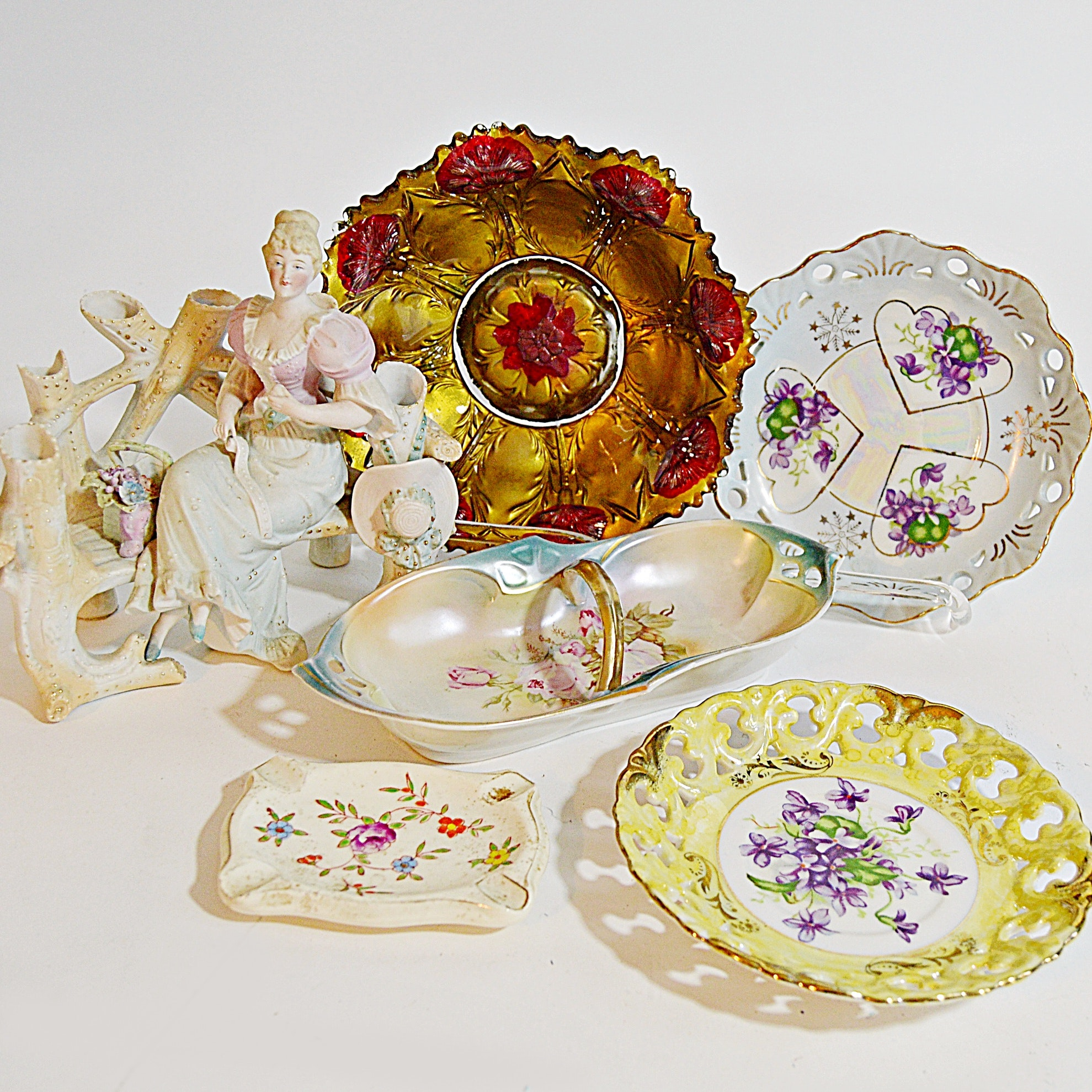 Antique Porcelain and Carnival Glass Plates