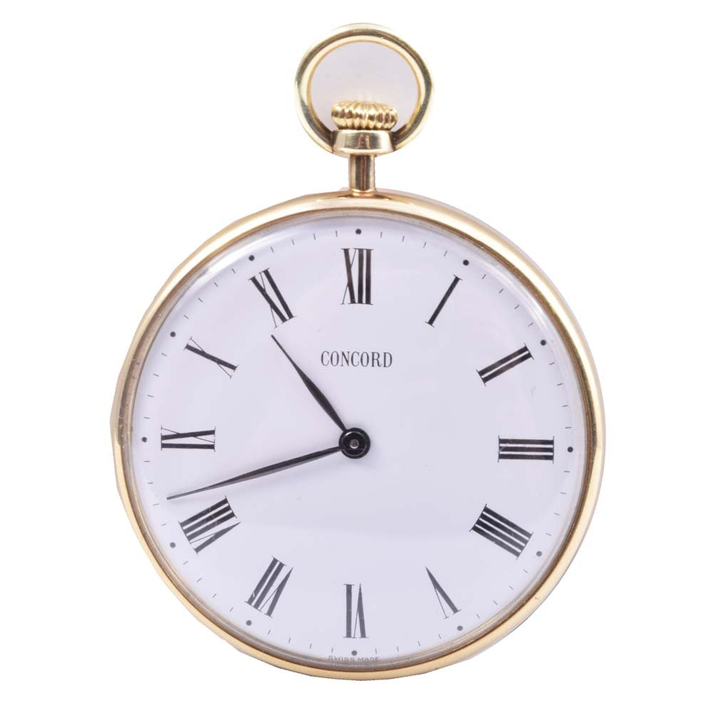 Vintage 14K Yellow Gold Concord Open Face Pocket Watch