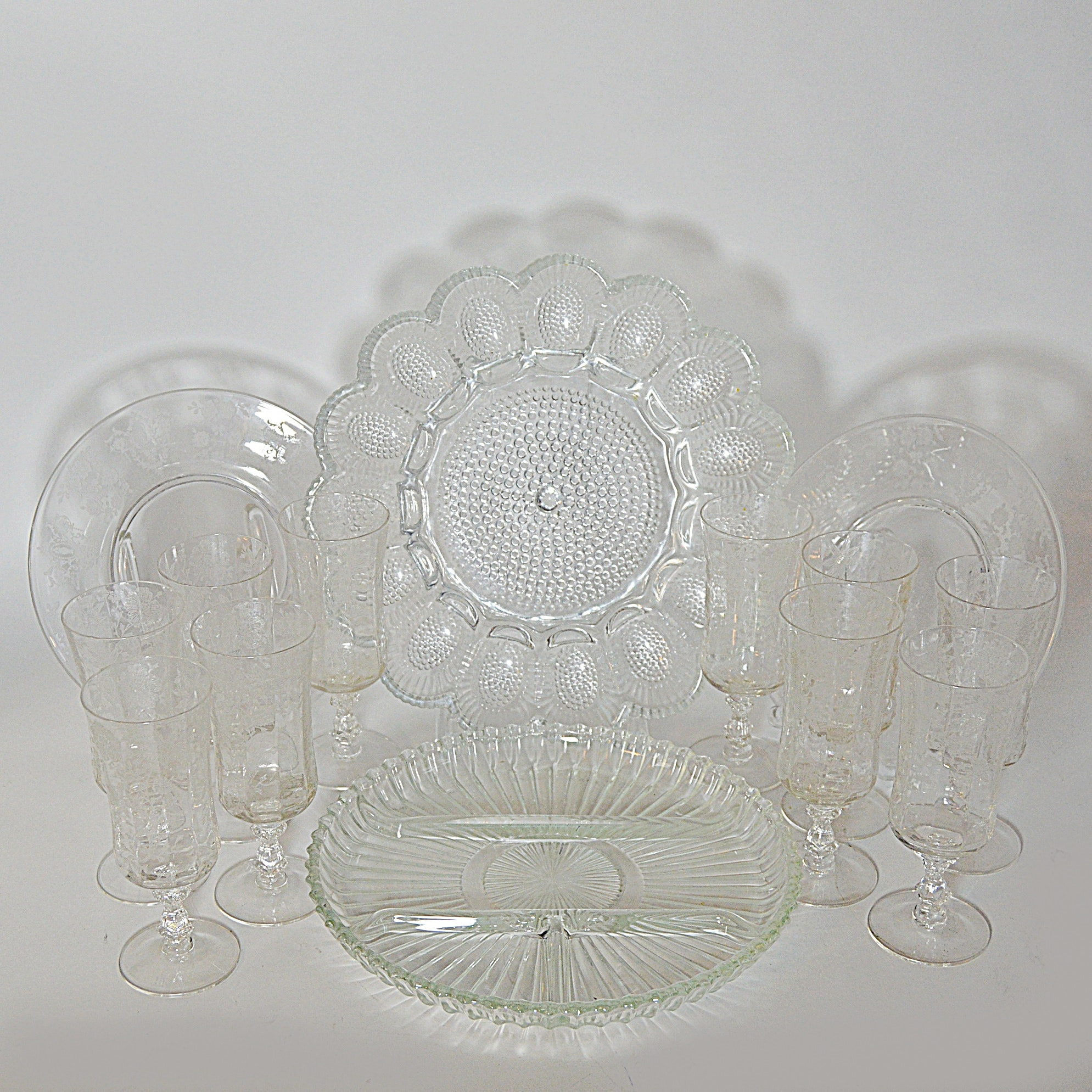 Depression and Pressed Glass Stemware and Tableware