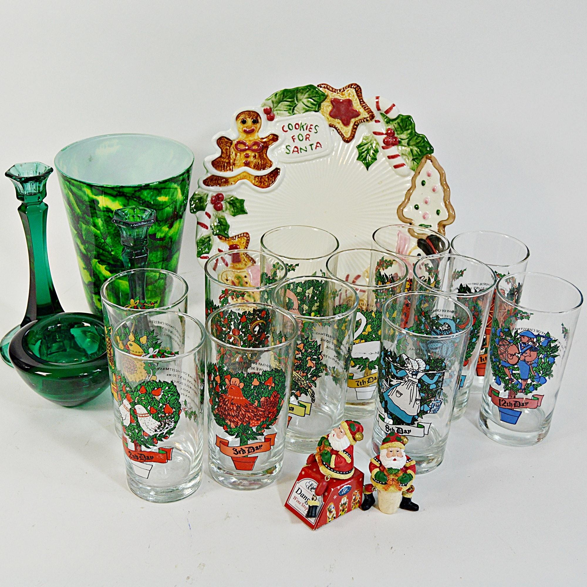 Christmas Glassware Set, Tableware and Vases