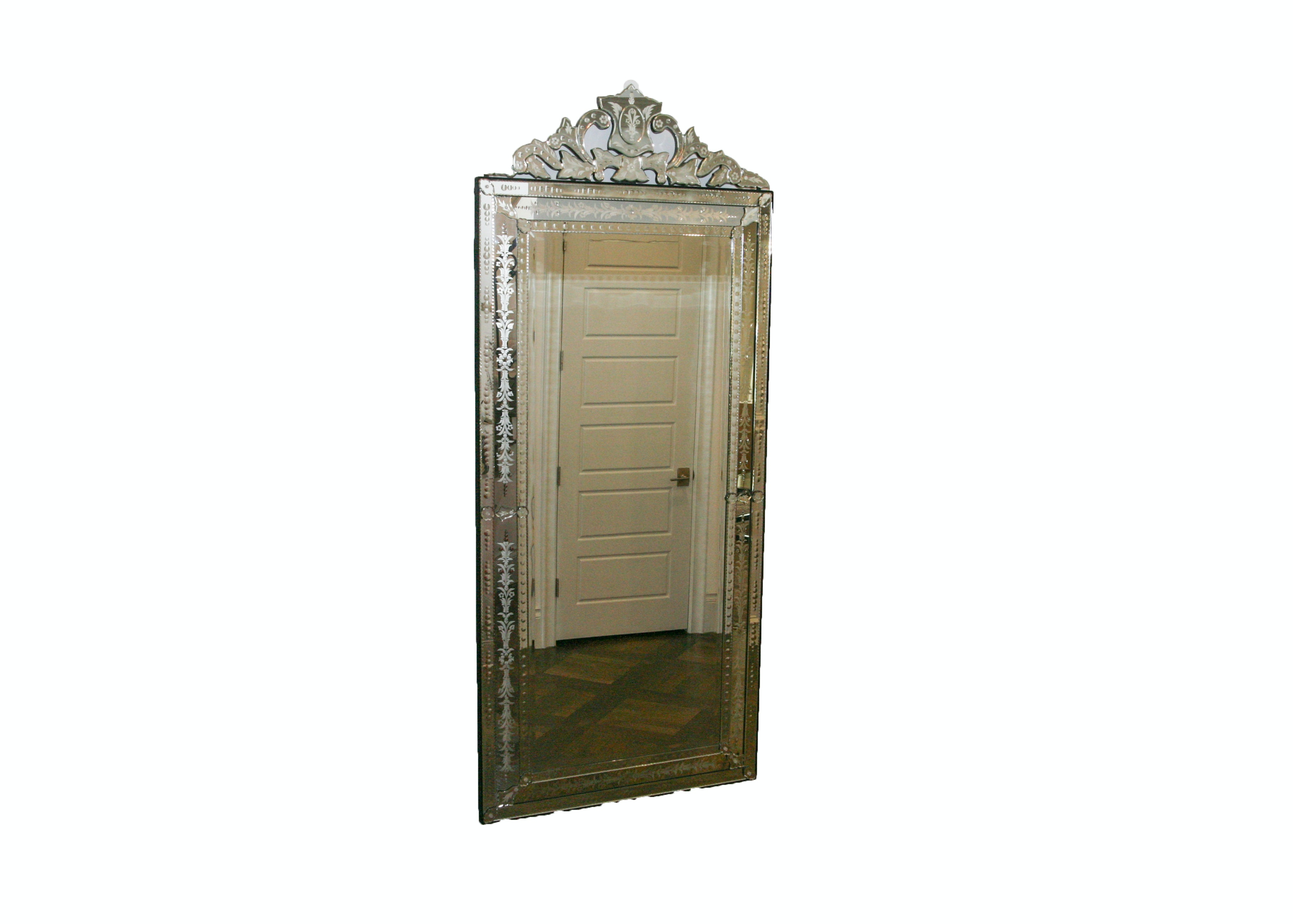 Full Length Venetian Beveled Mirror with Etched Mirrored Frame
