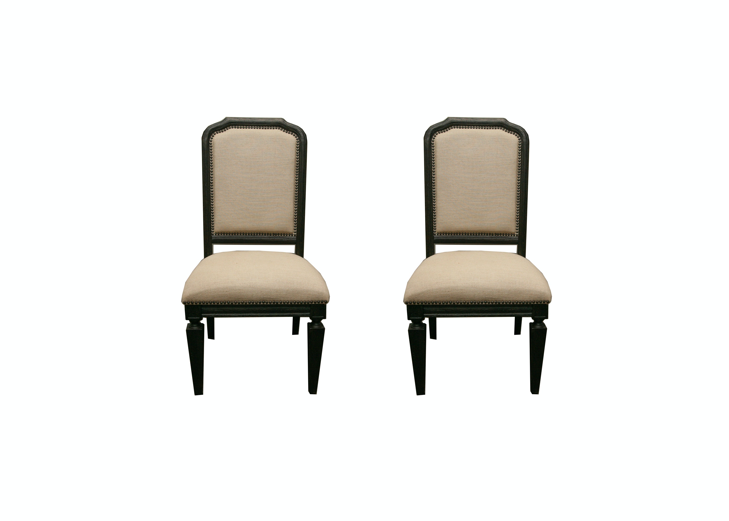 Two Upholstered and Walnut Chairs from Z Gallerie