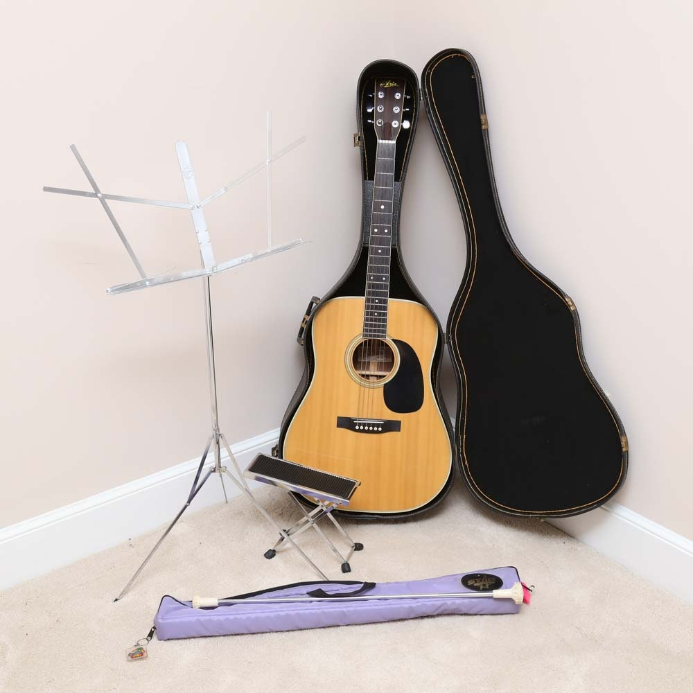 Aria Acoustic Guitar with Metal Music Stand, Pedal and Baton