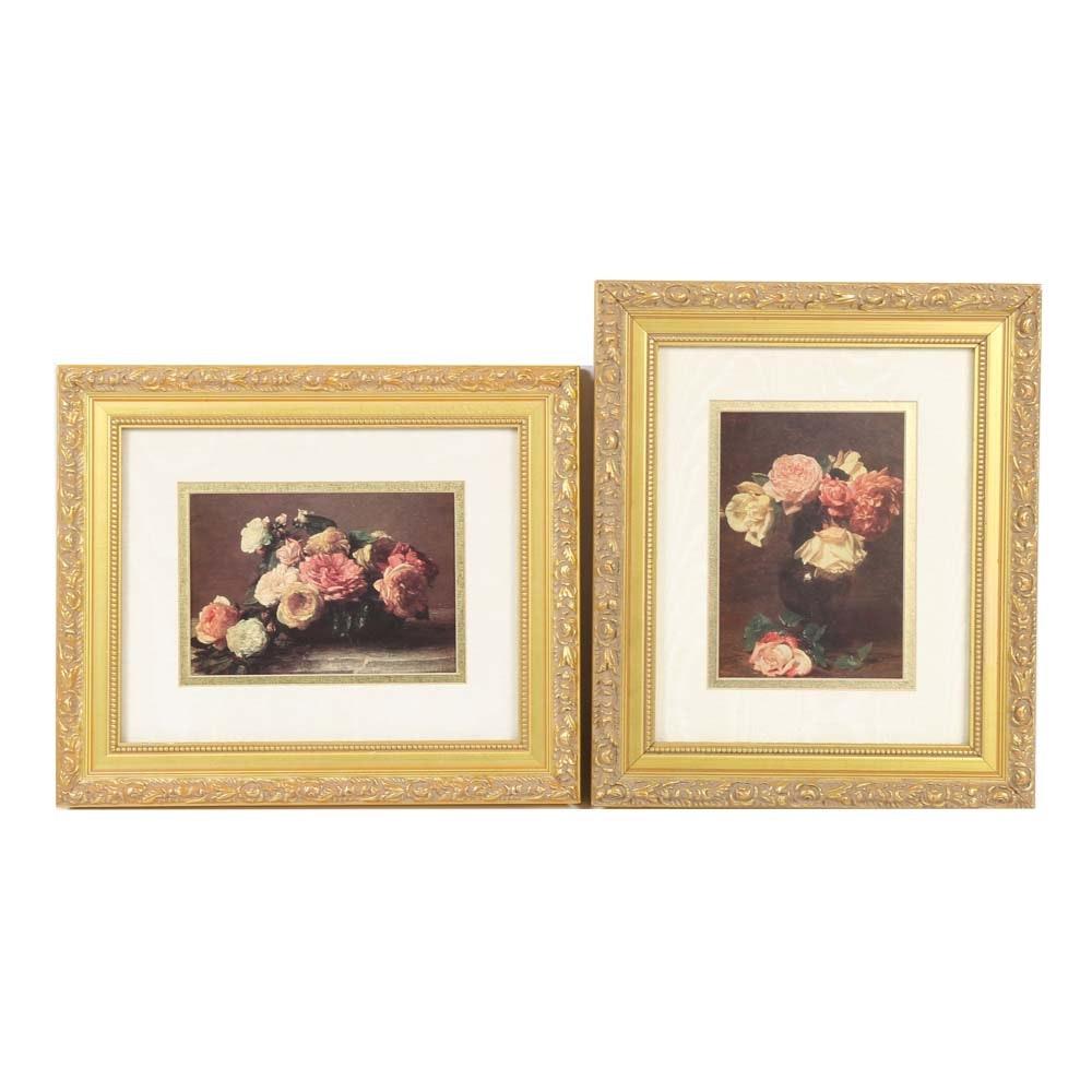 Framed Floral Offset Lithographs