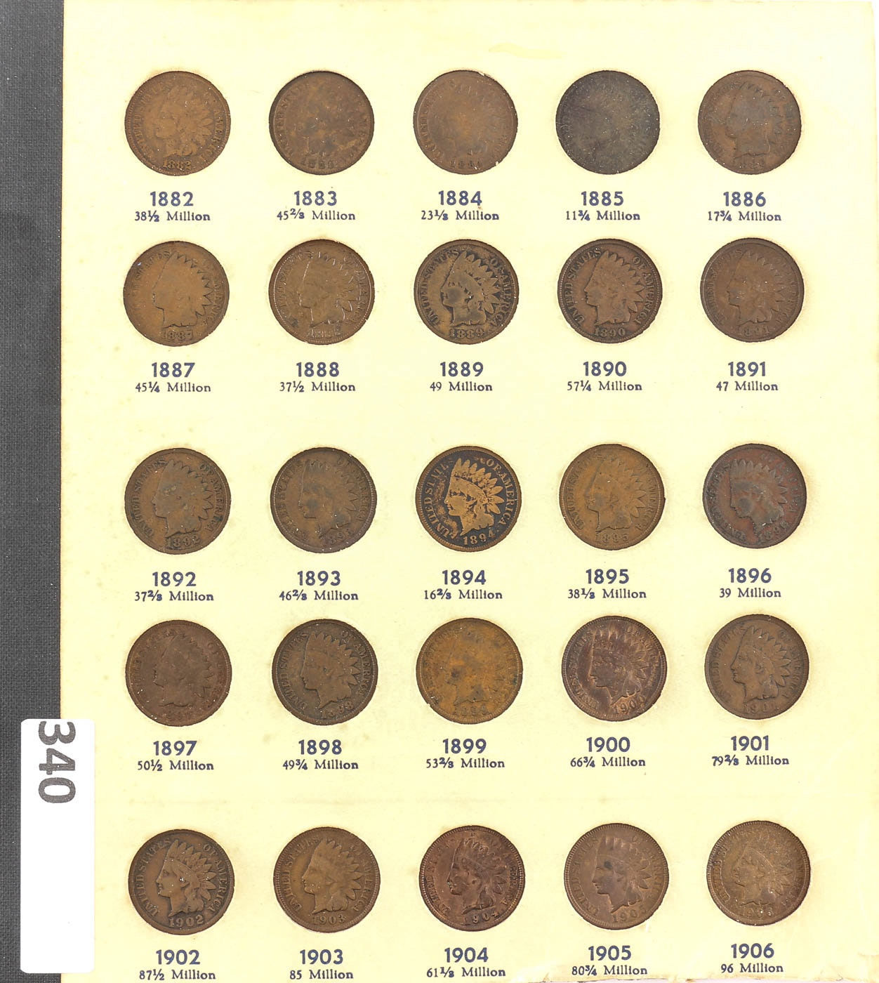 Group of 25 Indian Head Cents in a Page from a Whitman Coin Folder