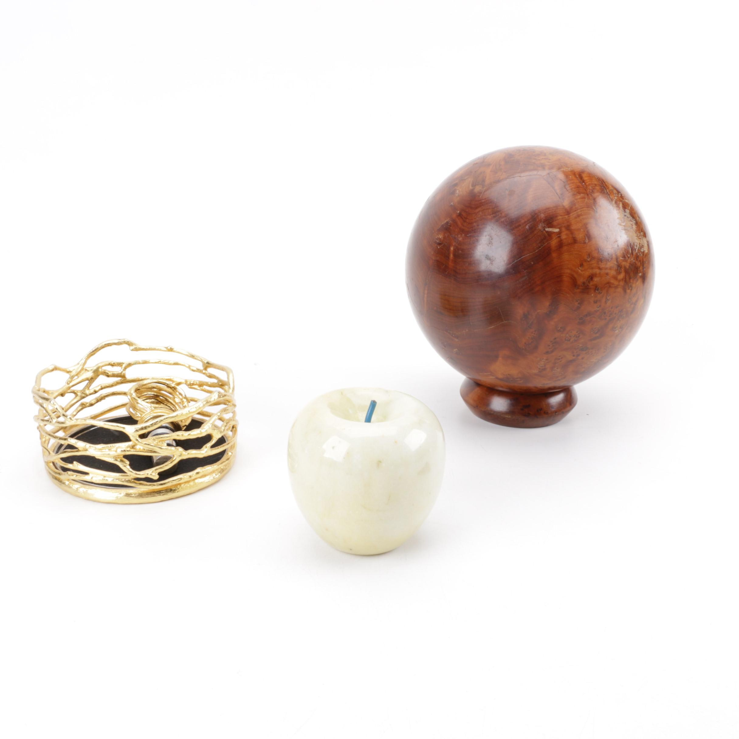 Wine Bottle Coaster With Stopper, Marble Apple, and Polished Wood Sphere