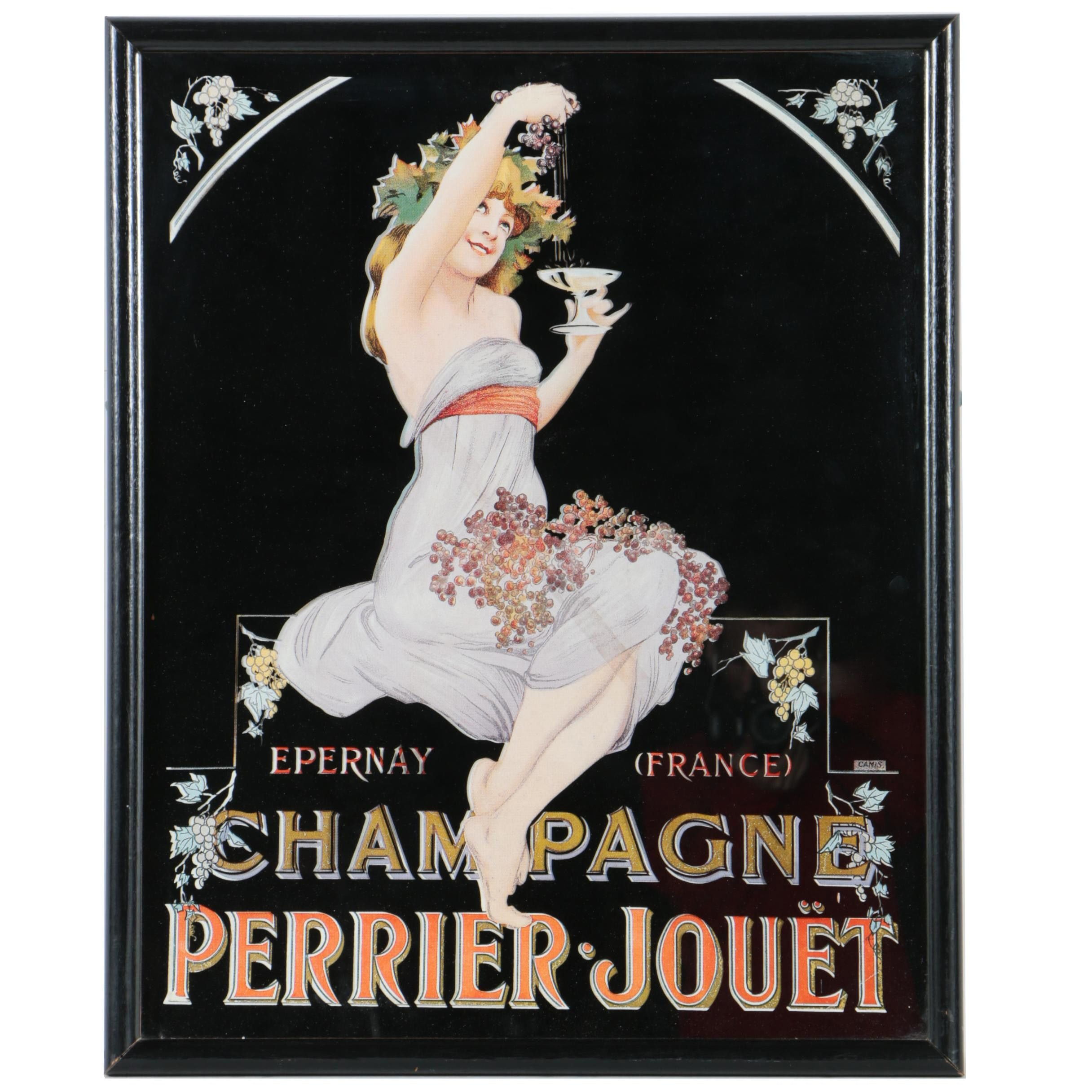 Art Nouveau Style Lithograph on Mirror Featuring Perrier Jouët