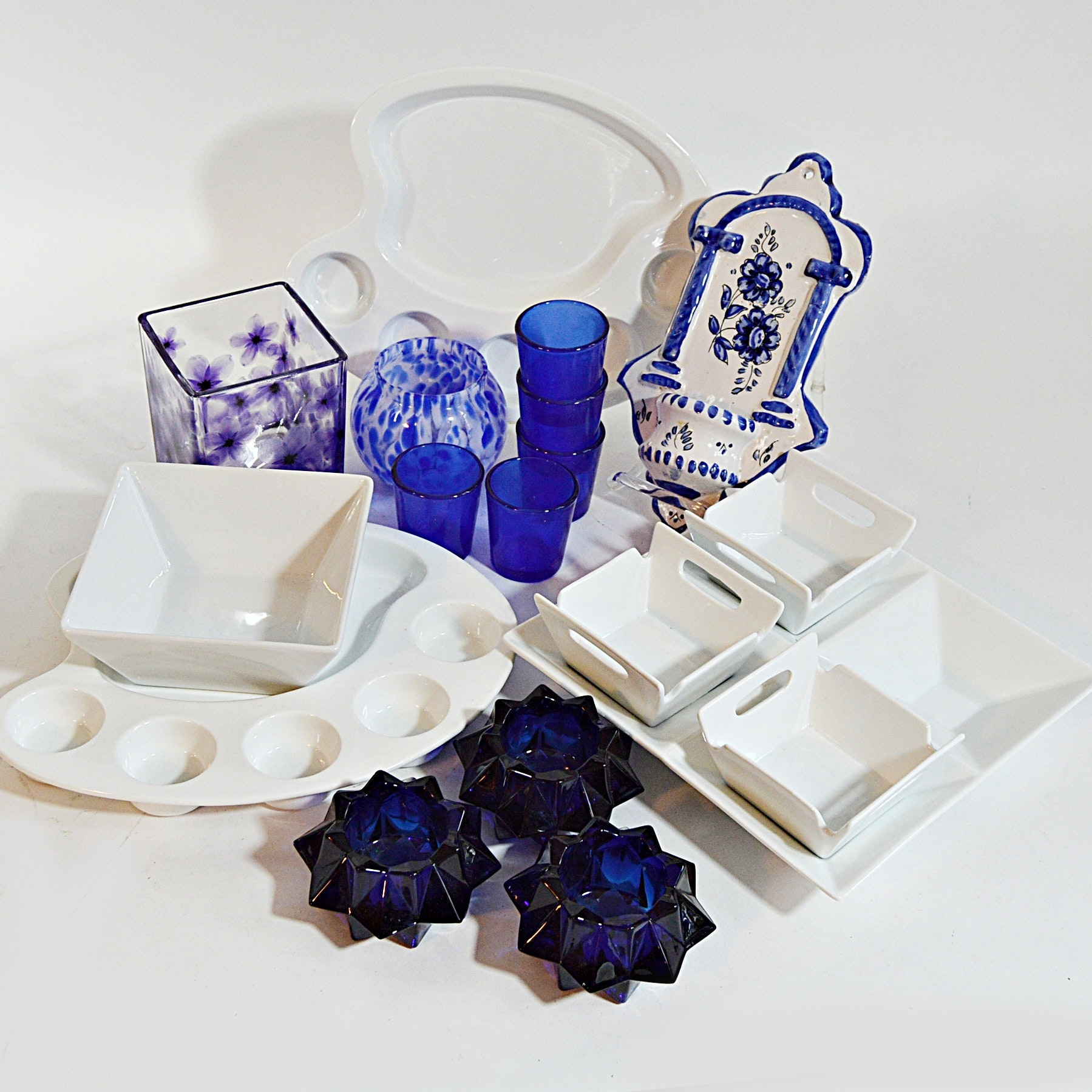 White Porcelain Tableware, Delft Wall Sconce and Blue Glass Decor