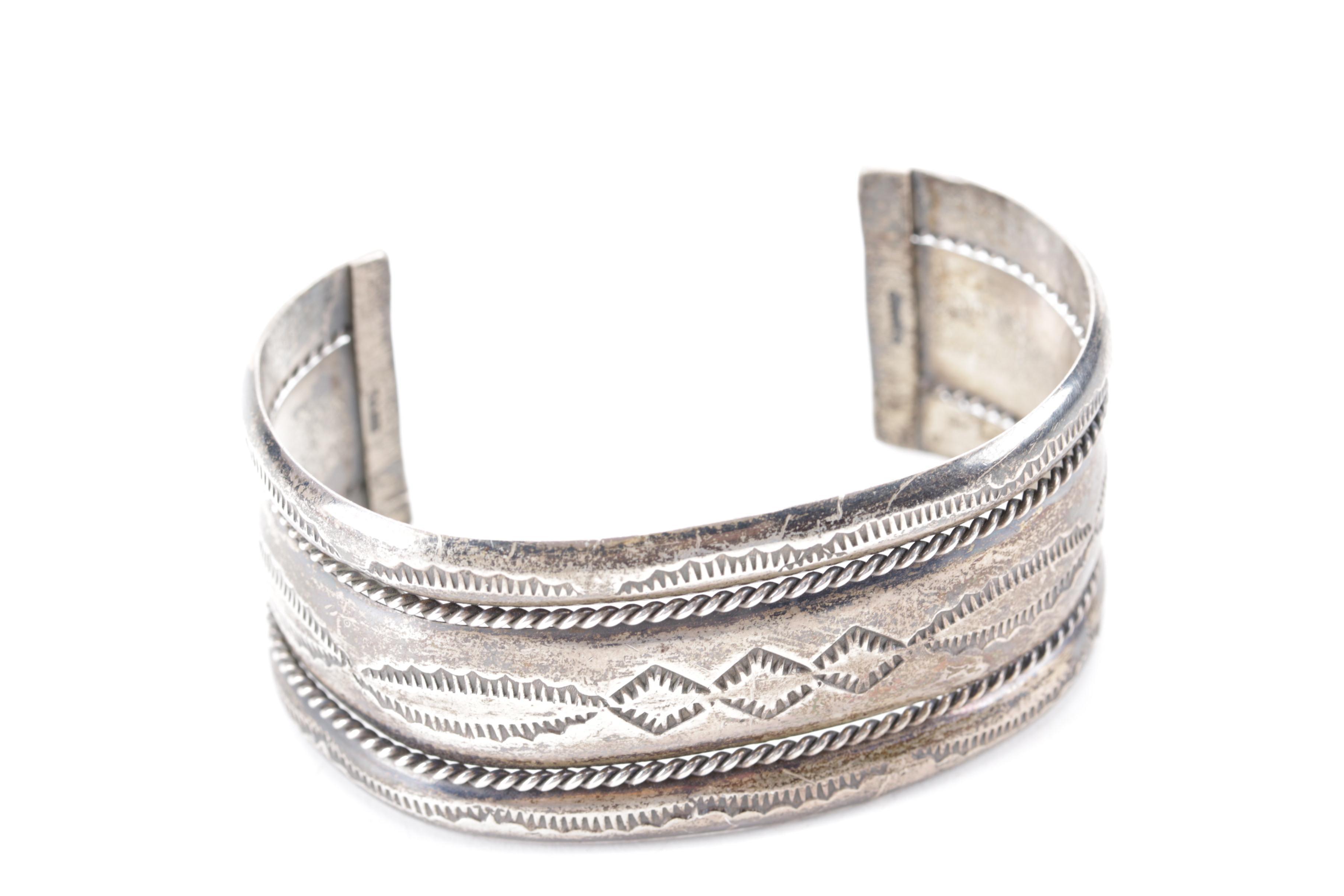 Verna Tahe Navajo Sterling Silver Cuff Bracelet