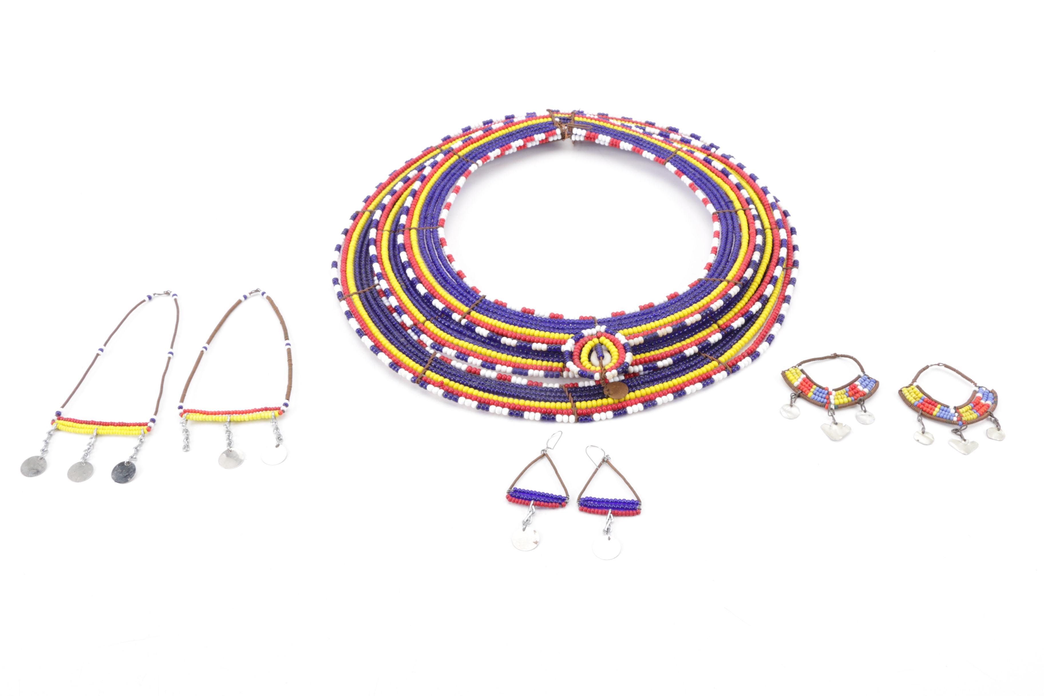Handmade Kenyan Beaded Necklace and Earrings